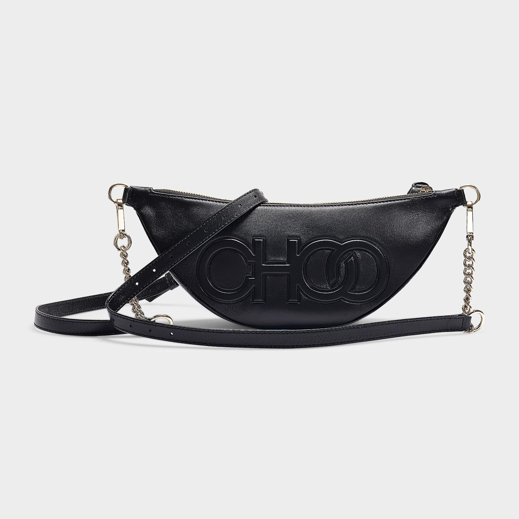 69258b71d Jimmy Choo Faye Shoulder Bag In Black Nappa Leather With Embossed Choo Logo  in Black - Save 50% - Lyst