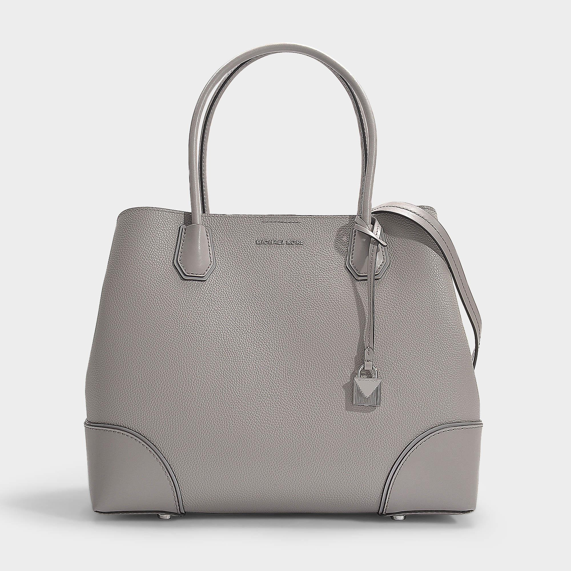 8cab5ff1aa1573 MICHAEL Michael Kors. Women's Gray Mercer Gallery Large Center Zip Tote Bag  In Pearl Grey Grained Calfskin