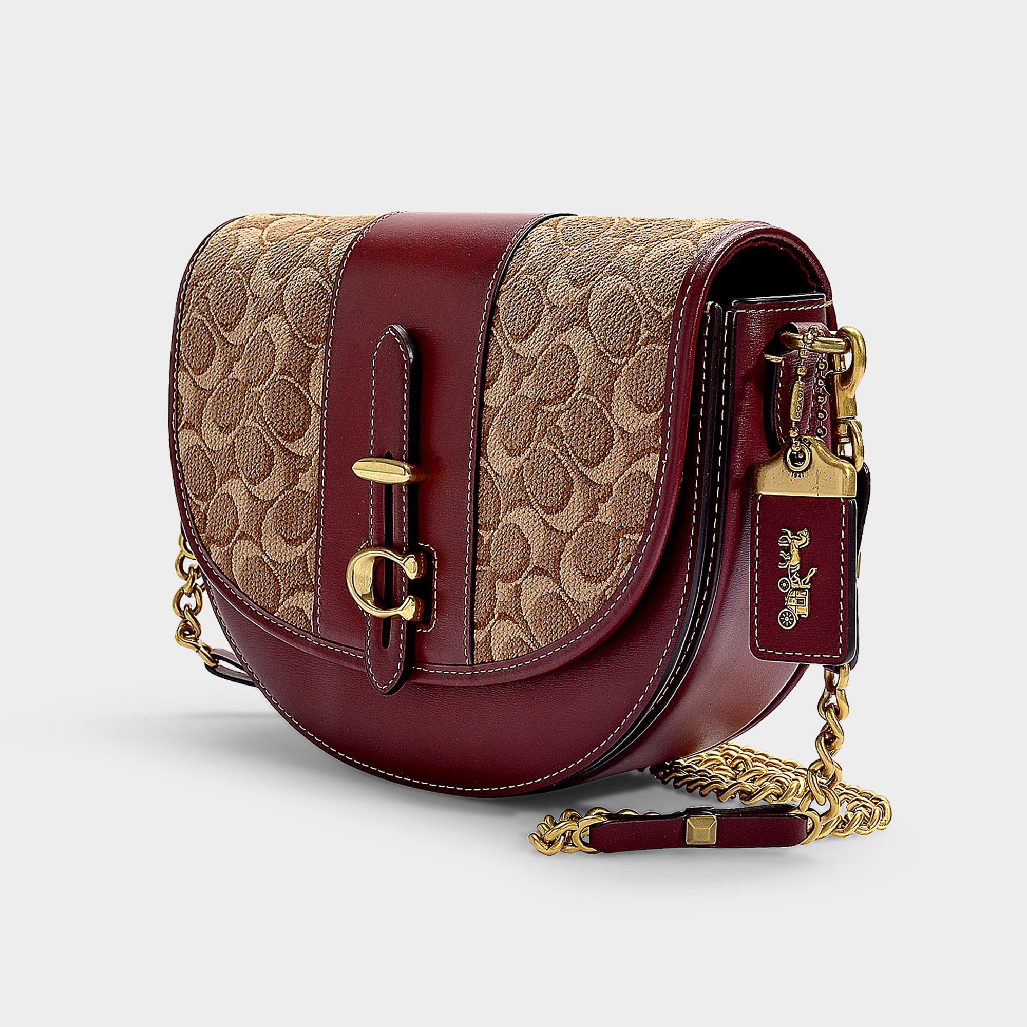 a9a3053a9 COACH Saddle Bag 24 In Tan Scarlet Signature Jacquard in Natural - Lyst
