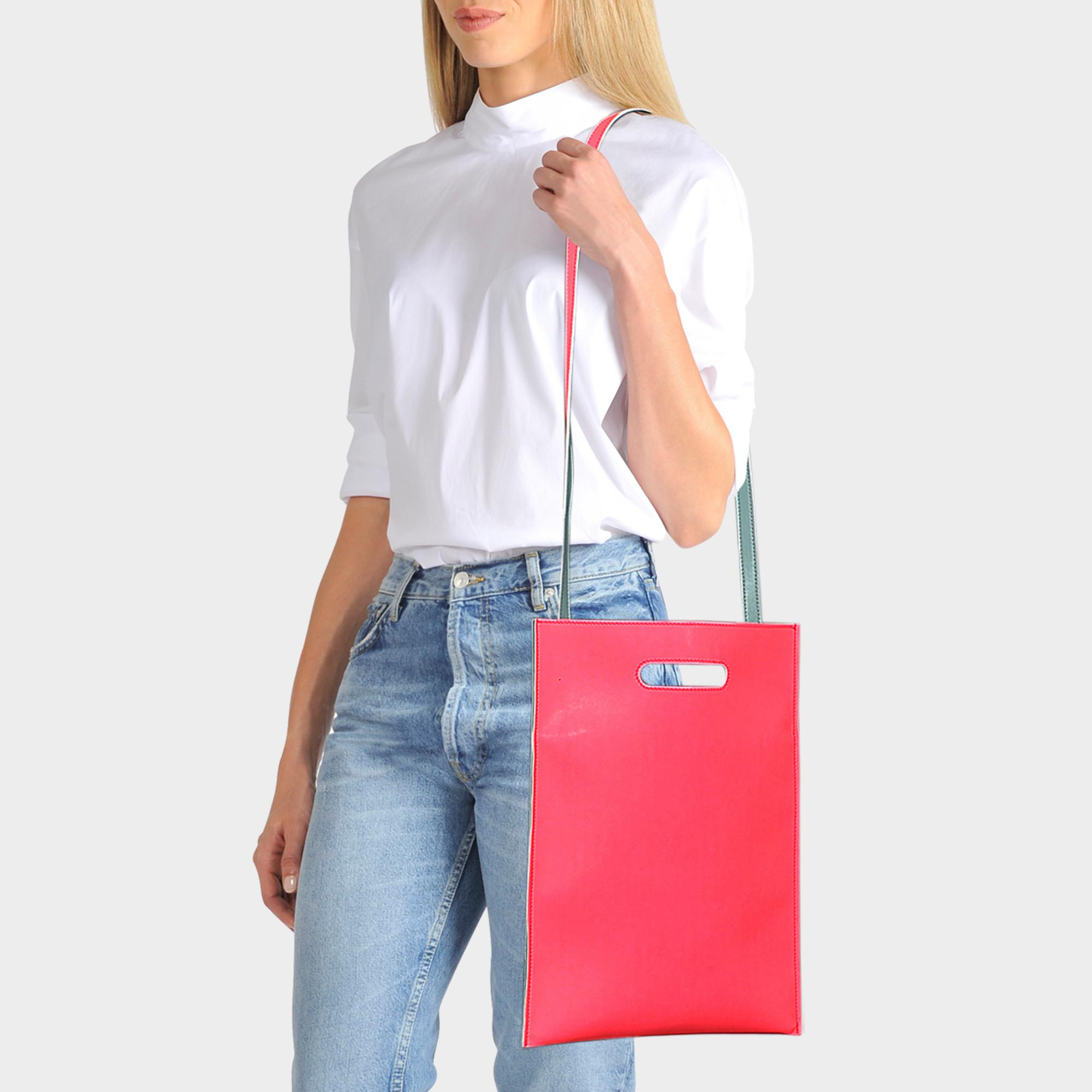 Hand Carry Plastic Bag in Neon Pink Synthetic Leather Maison Martin Margiela
