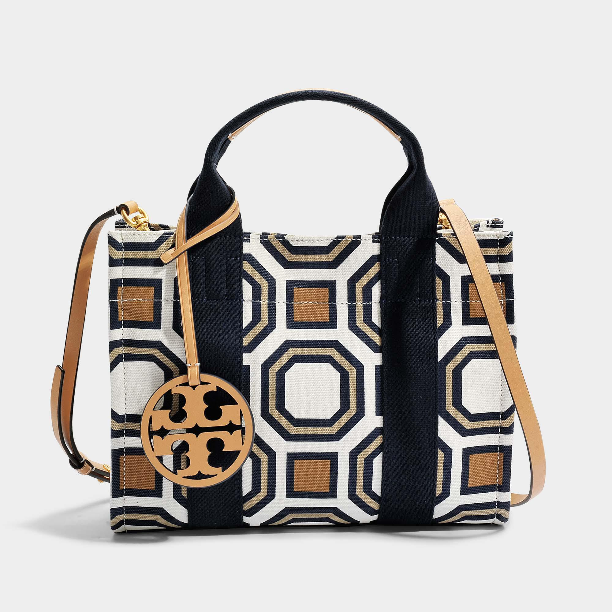 b54fcc7aec Tory Burch Tory Mini Tote Bag In Ivory Octagon Square Canvas in ...