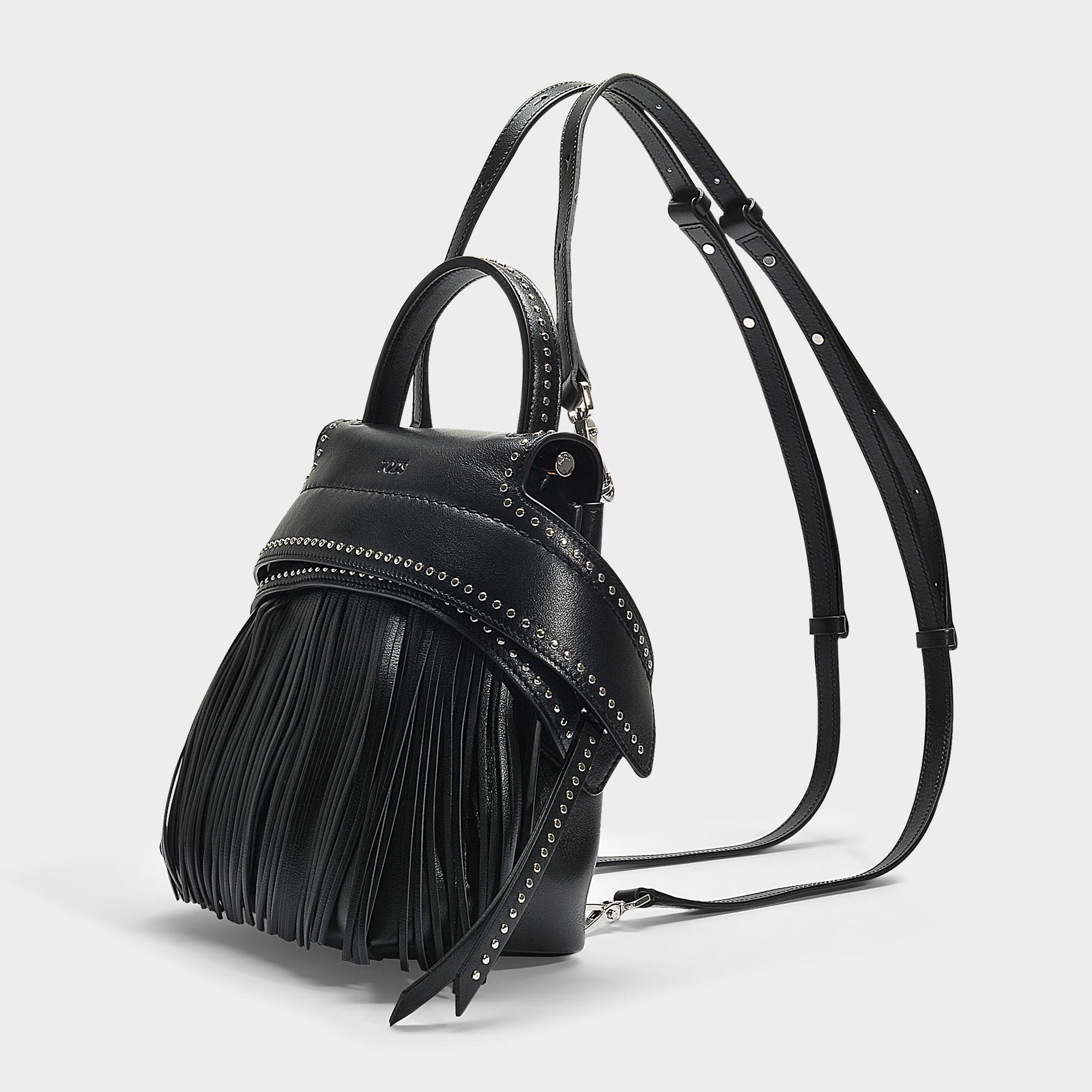 ed74fe0295b Tod's Wave Mini Backpack With Fringes In Black Calfskin in Black - Lyst