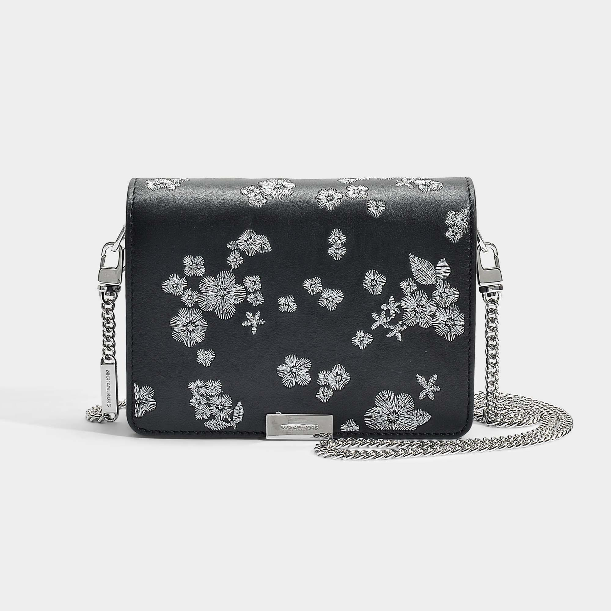 Jade Medium Gusset Clutch in Optic White Flower Embroidered Smooth Vegetable Leather Michael Michael Kors 6ElUjvF6
