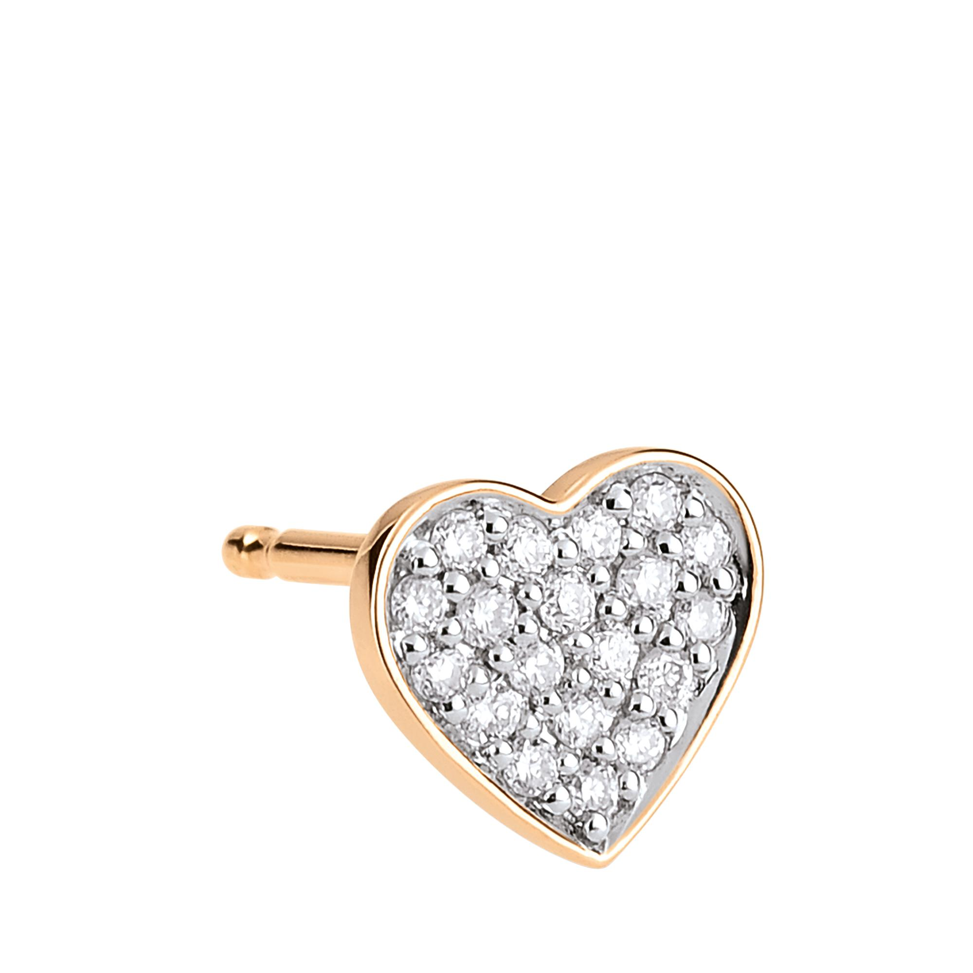 Single Tiny Diamond Heart Stud Earring in 18K Rose Gold and Diamonds Ginette NY tVdrjIUXA