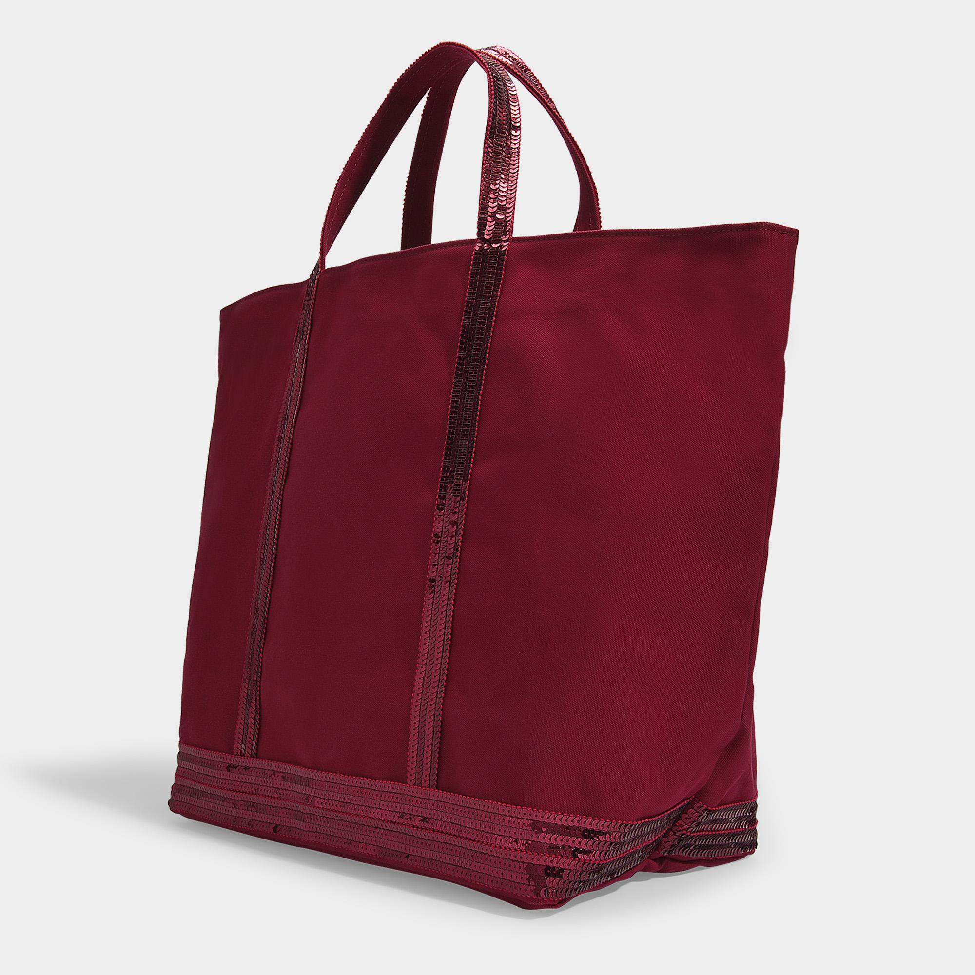 3100f6359c9be4 Vanessa Bruno - Red Large Cabas Tote Bag In Burgundy Canvas And Sequins -  Lyst. View fullscreen