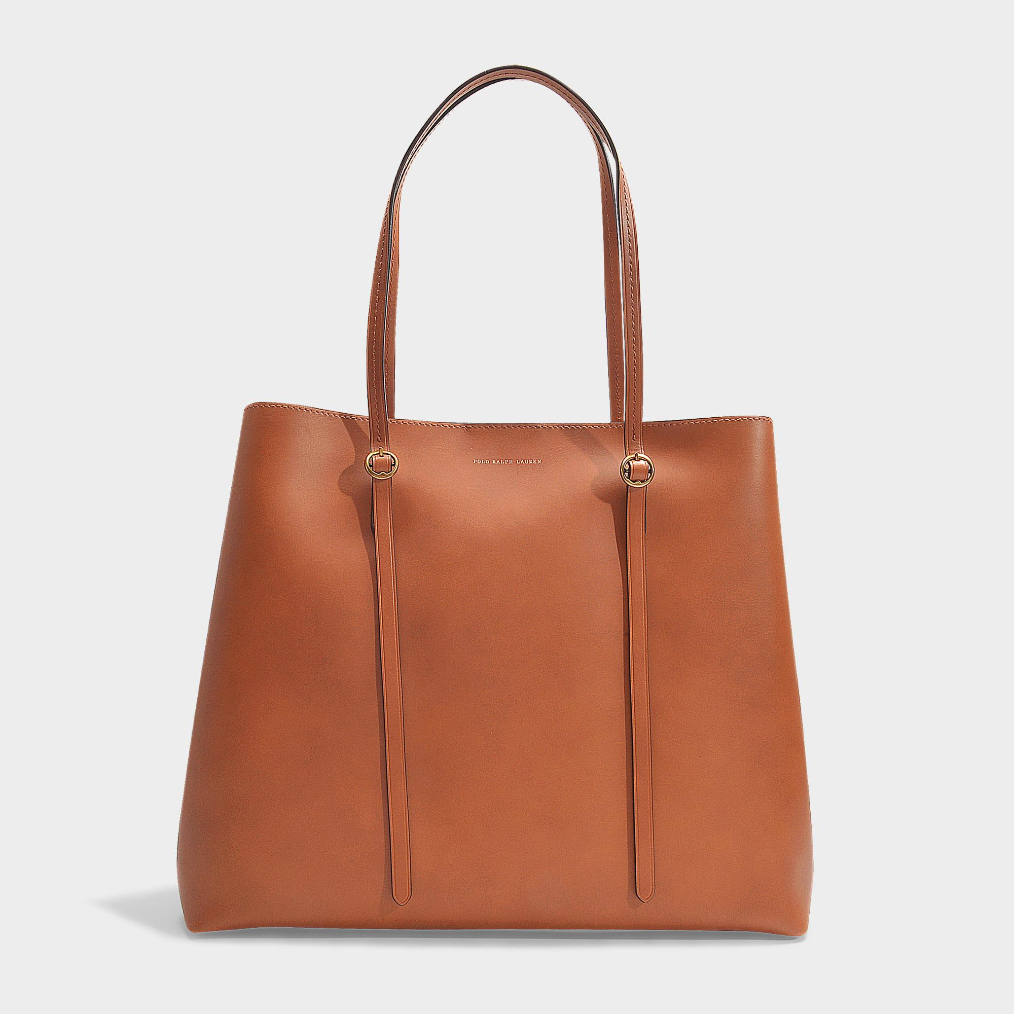 5cdc21b325 Polo Ralph Lauren Lennox Large Tote In Saddle Smooth Leather in ...