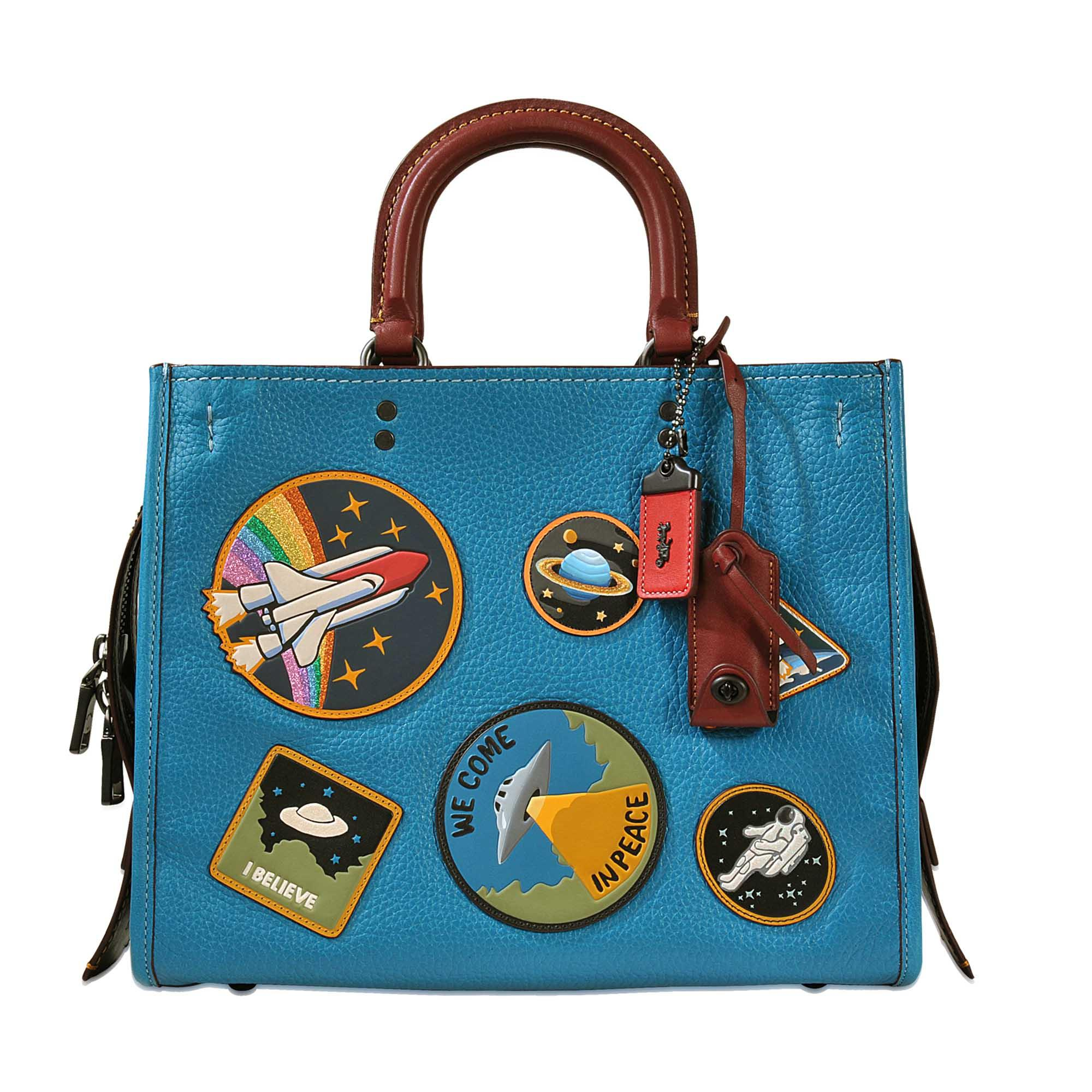 Coach Rogue Tote Bag With Space Patches In Blue Save 47