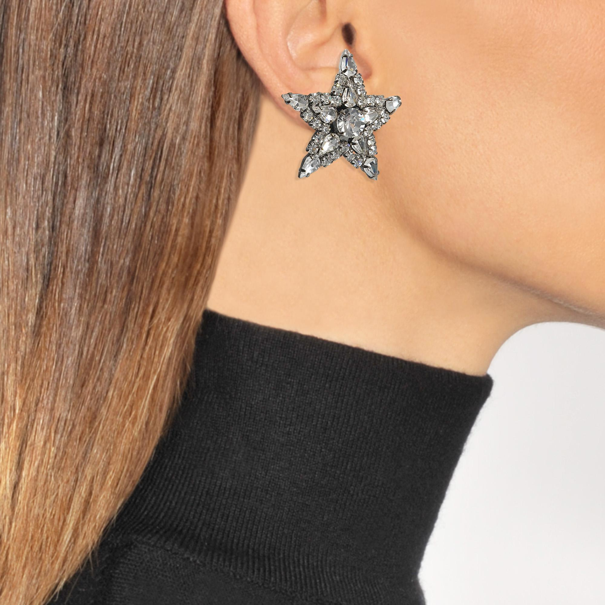 Helene Zubeldia Exclusivity - Asymmetrical Star and Moon Crystals Cascade Earrings in Ruthenium and Crystals ml9cZ9zF