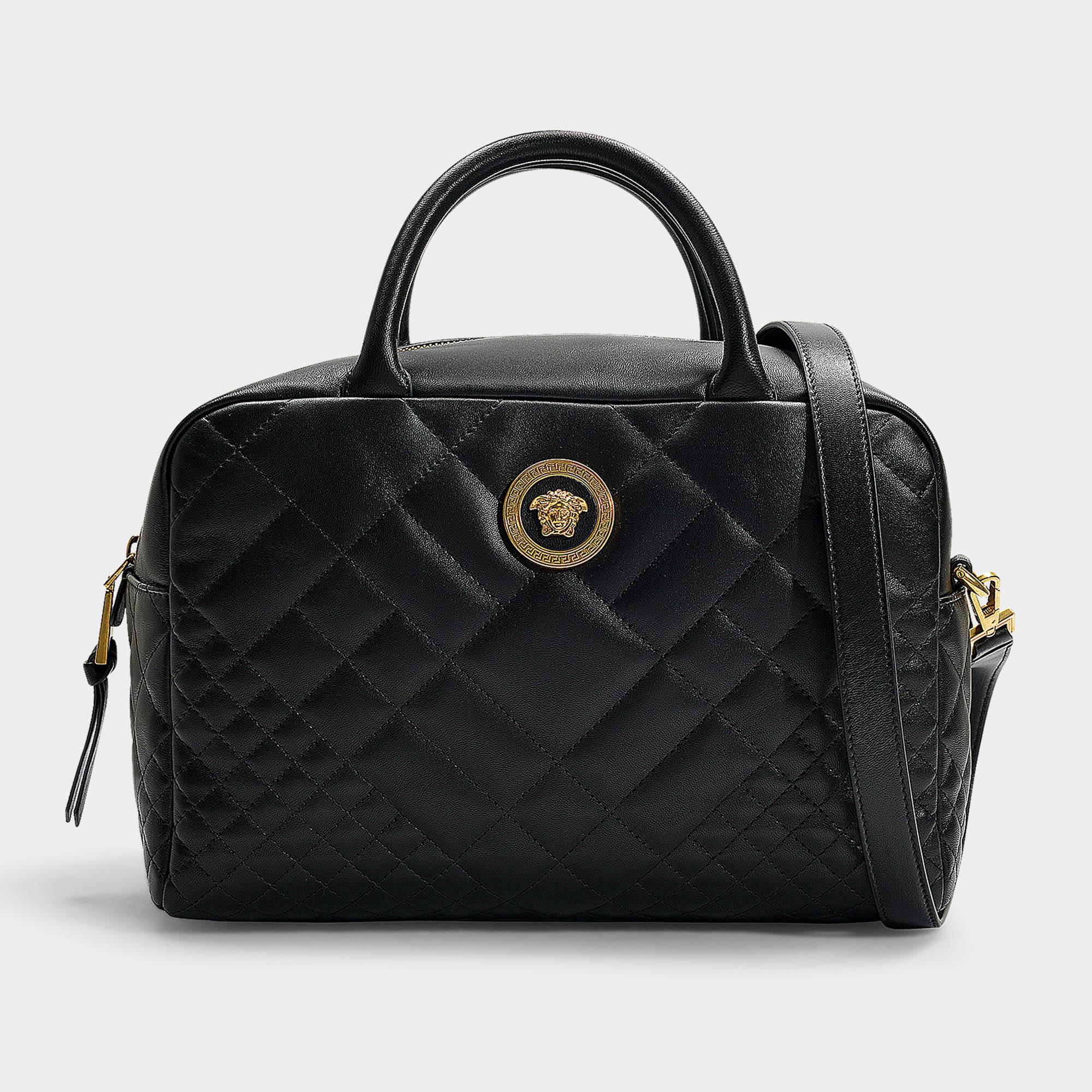 eaf71a501b Lyst - Versace Bowling Bag In Black Quilted Lamb Leather in Black