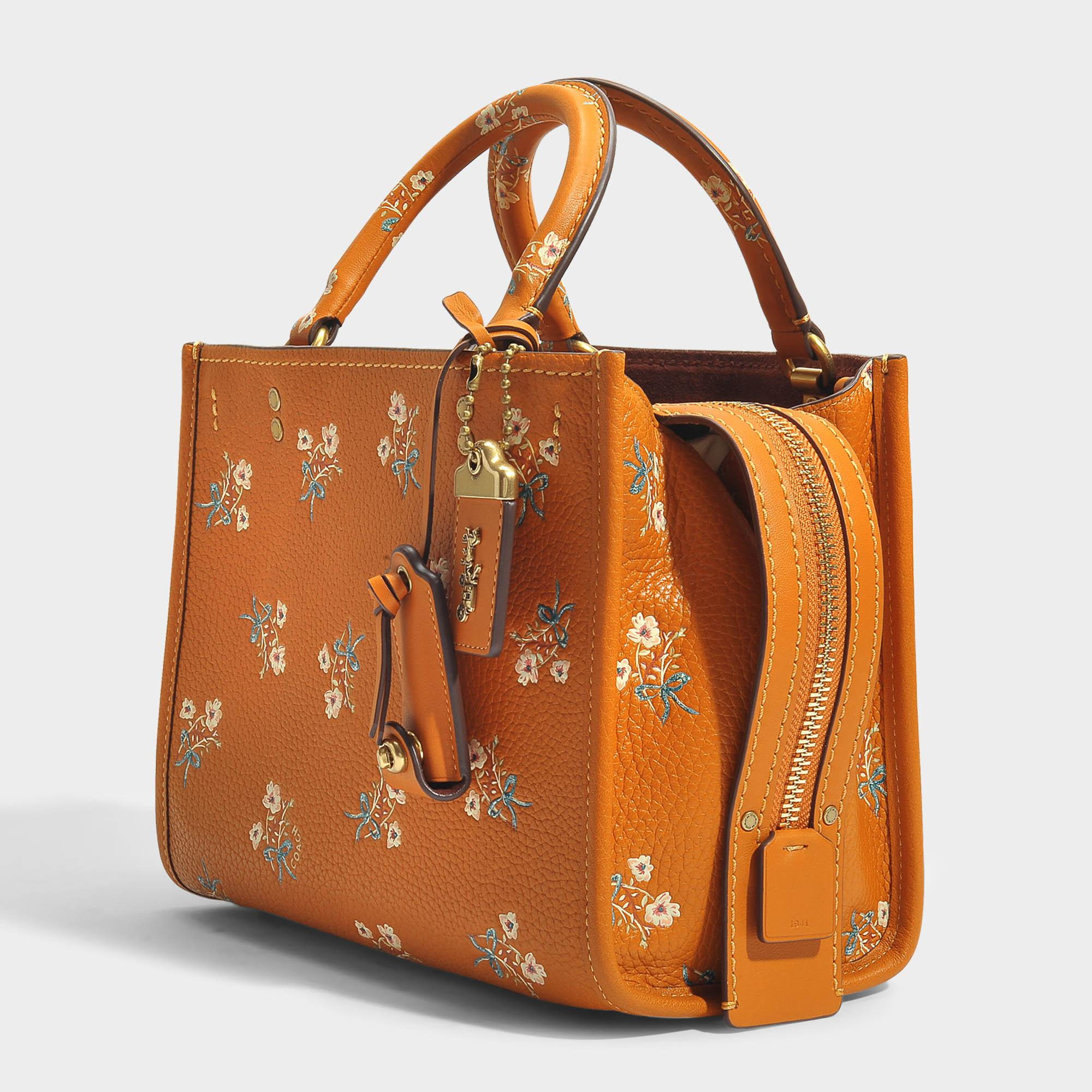 d0e86934b44b Lyst - COACH Rogue Bag 25 In Orange Calfskin
