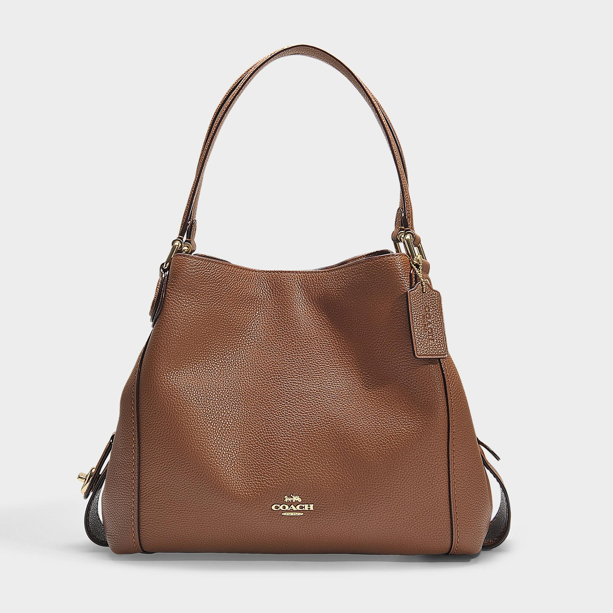 d481e1ac COACH Polished Pebble Leather Edie 31 Shoulder Bag In Brown Calfskin ...