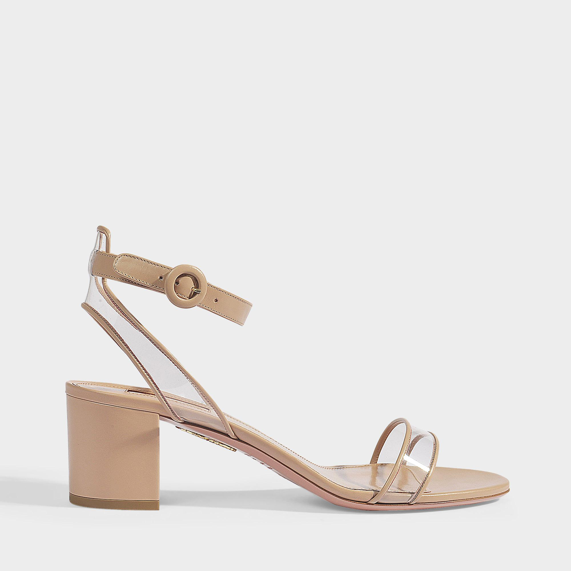 afad64cf65f Aquazzura. Women s Minimalist Sandals 50 In Powder Pink Calf Leather And Pvc