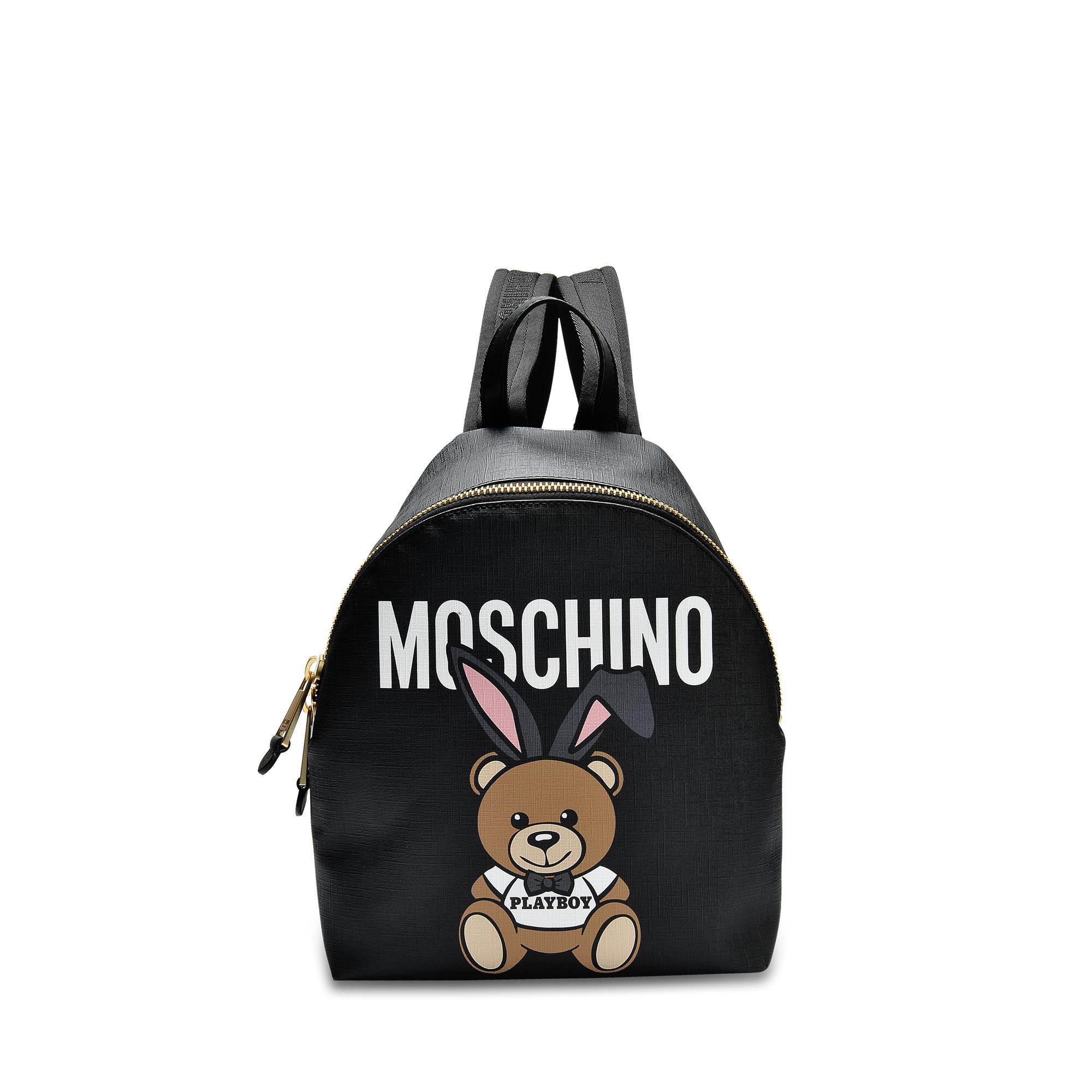 Moschino Petit Sac à Dos Teddy Playboy en Saffiano Noir KM9EzplU