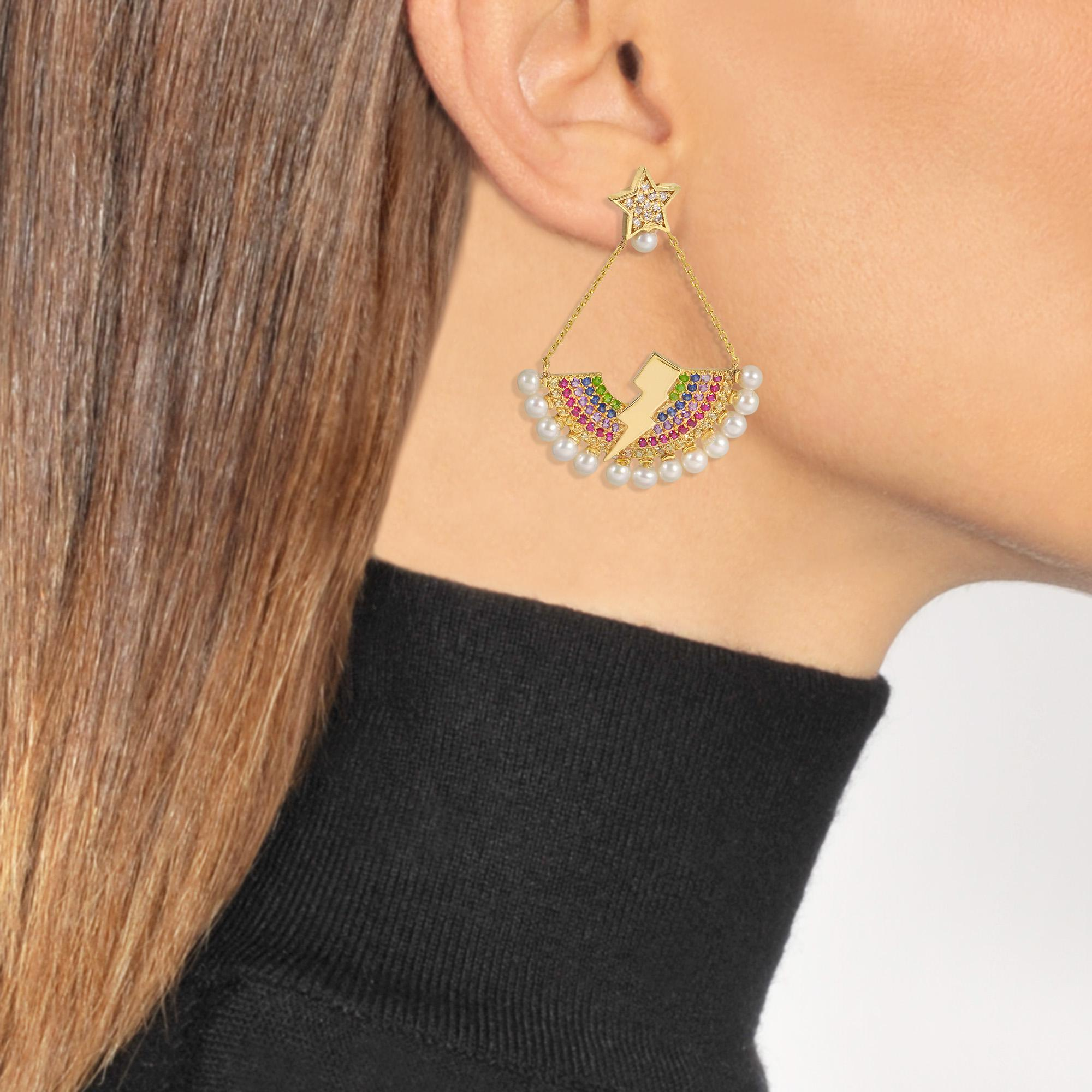 Rainbow Lighting Bulb Mono Earring in 14K Gold and Precious Stones Anton Heunis V4Jz1557Hn