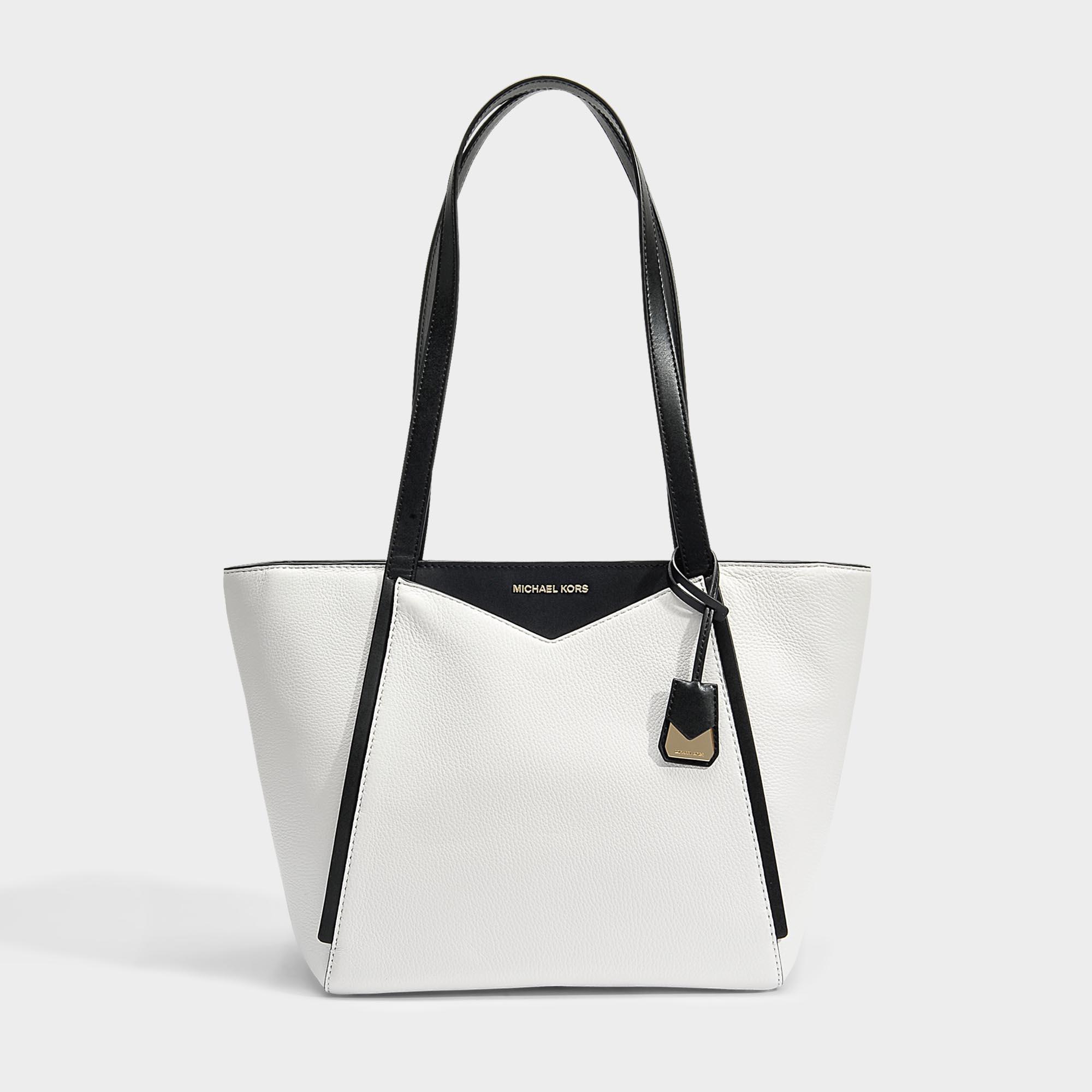 d4760c4652 Michael Michael Kors Small Top Zip Tote Bag In Optic White And Black ...