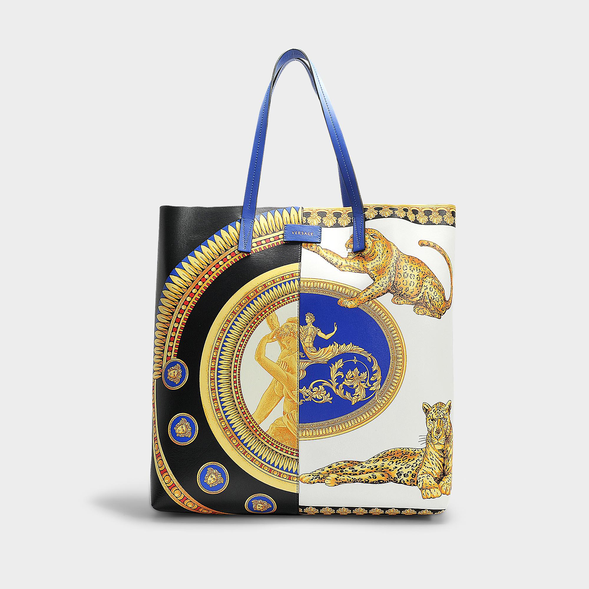 fbad002620bb Lyst - Versace The Lovers Tote In Blue Calfskin