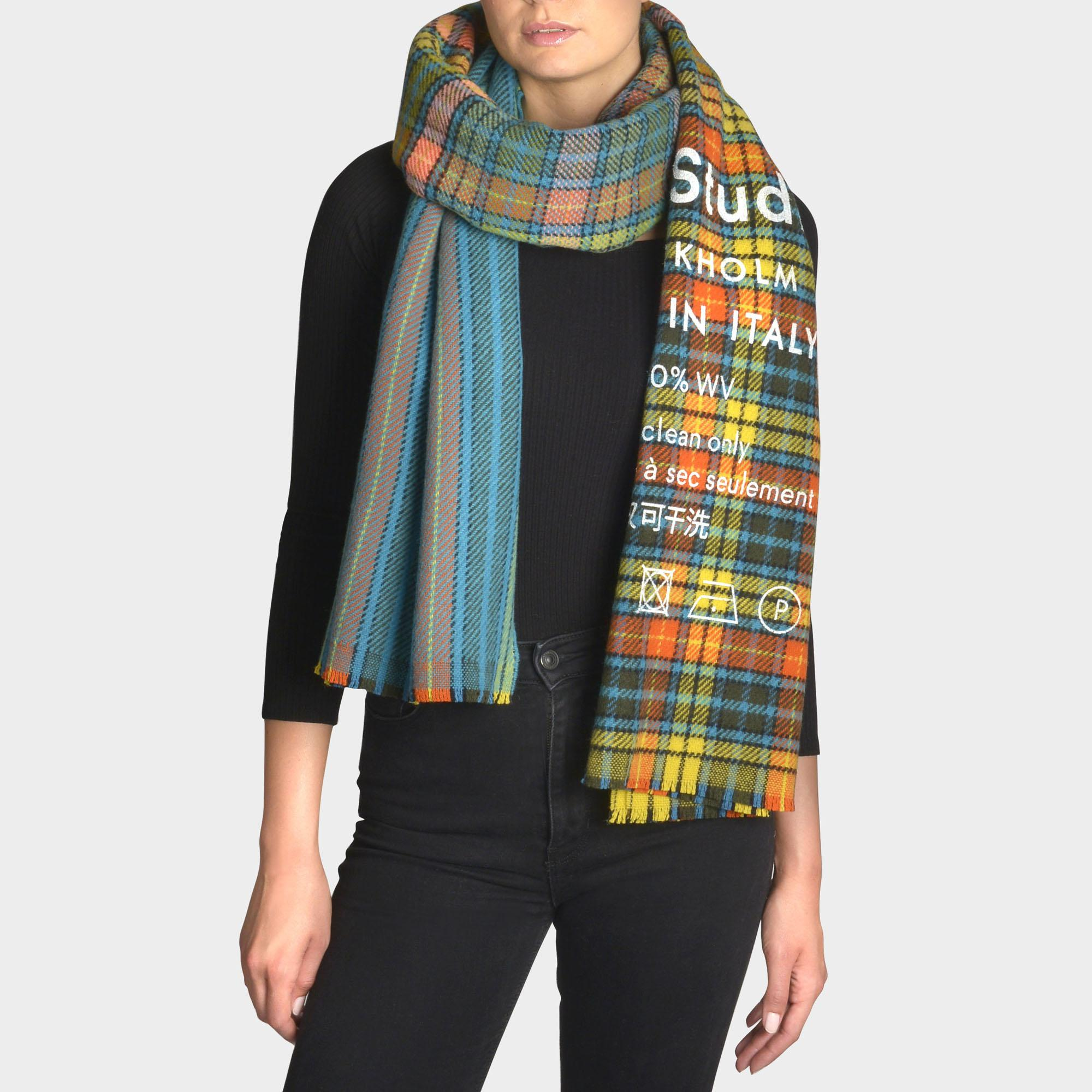 402a2b5d213 Acne Studios Cassiar Check Scarf In Blue And Beige Squares Wool - Lyst