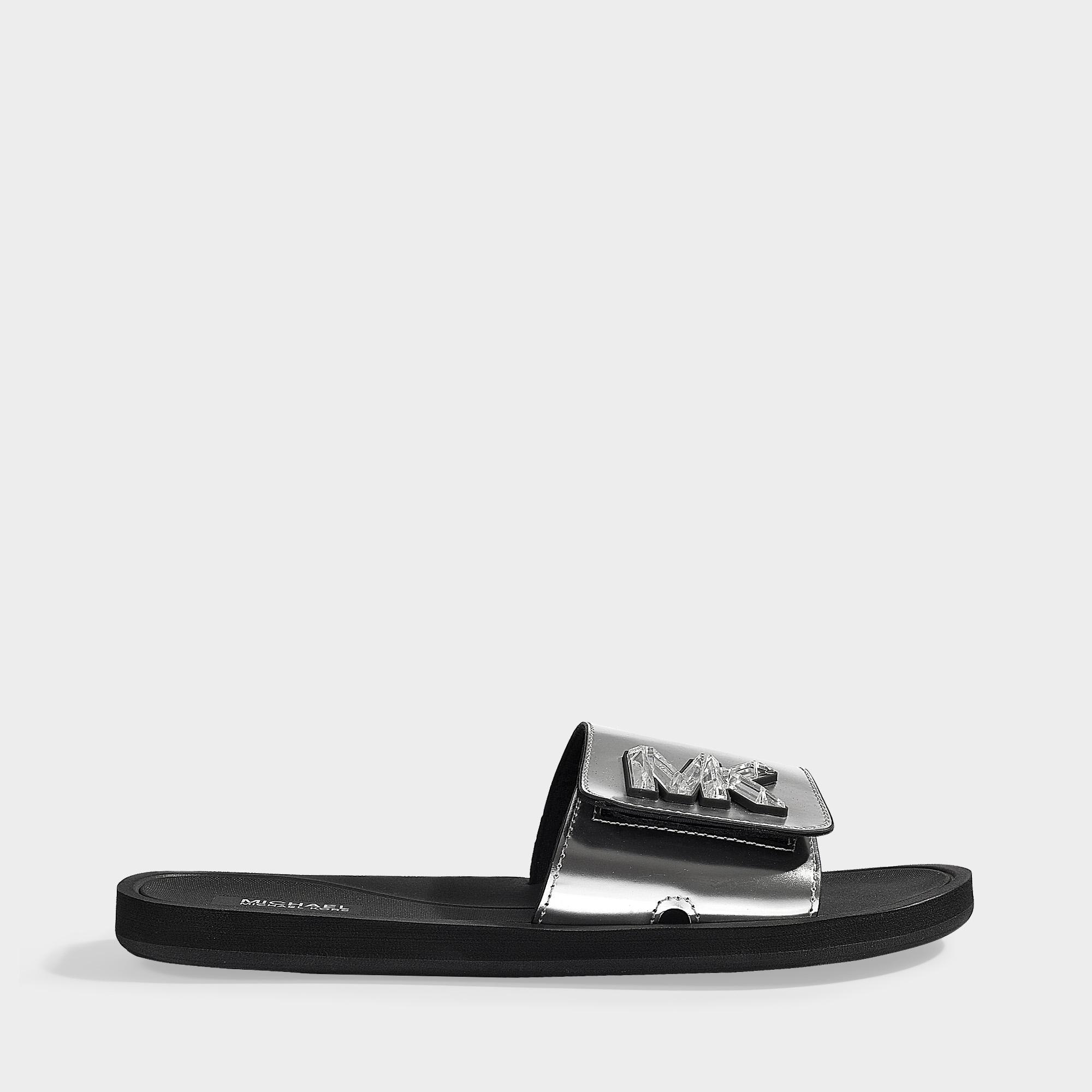 44ef16d622b3 MICHAEL Michael Kors. Women s Gray Mk Slides In Silver Mirror Metallic ...