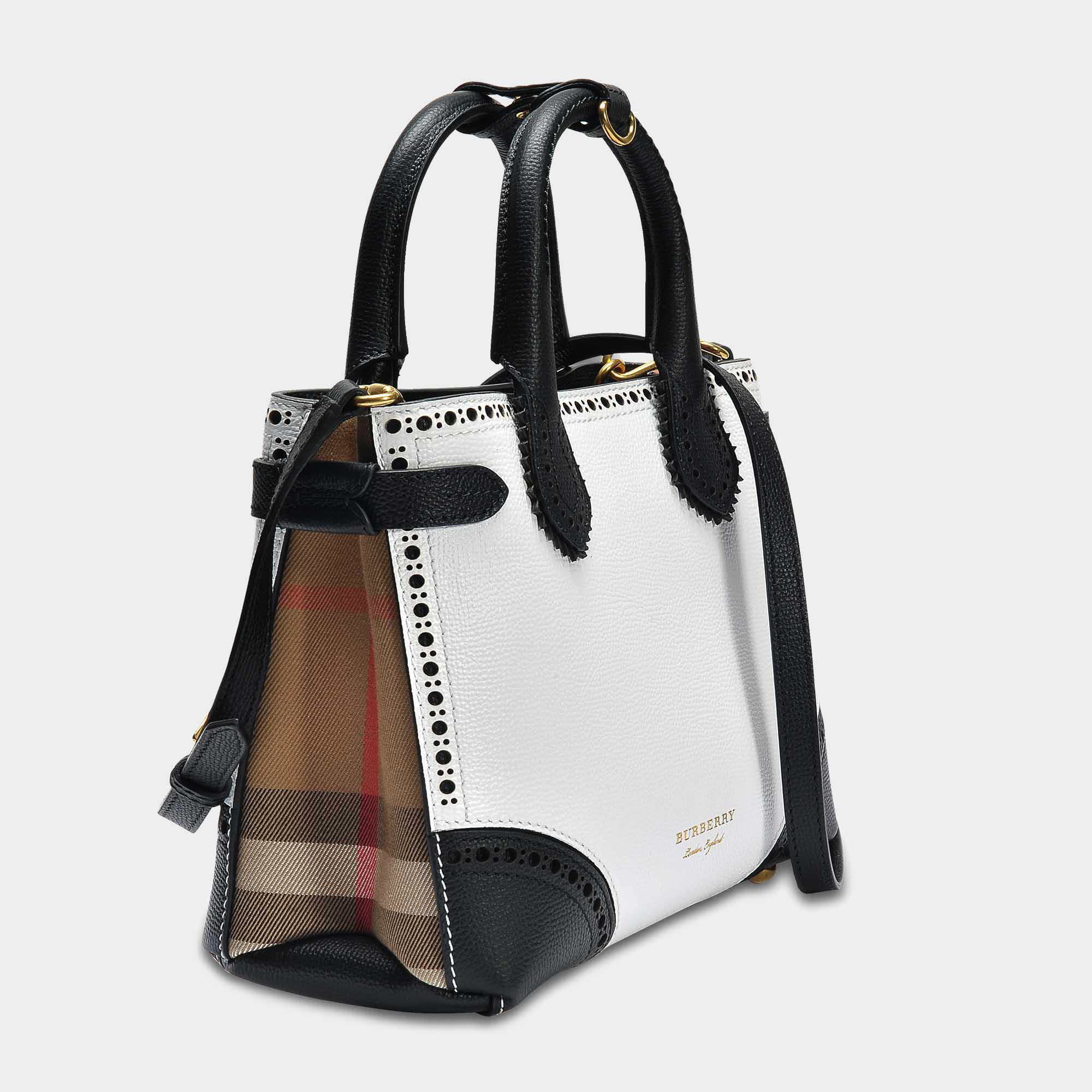 22972eb1cd5c Lyst - Burberry Small Banner Bag In Black And White Grained Calfskin ...