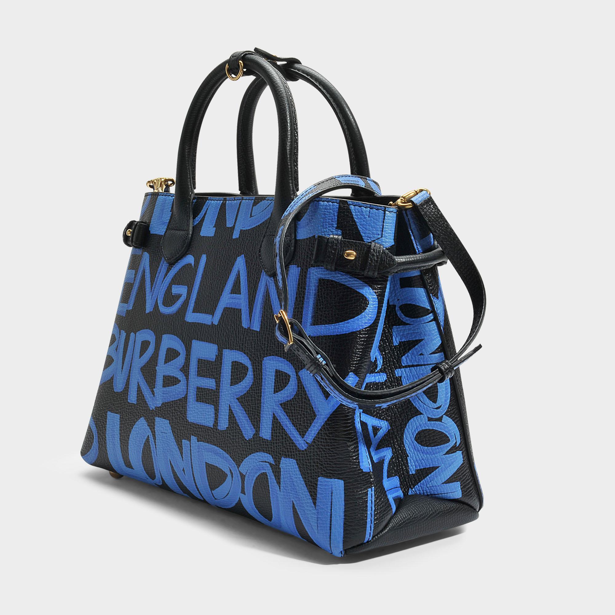 Medium Banner Graffiti Print Bag in Black Leather Graffiti Print Burberry tDUv8Dq