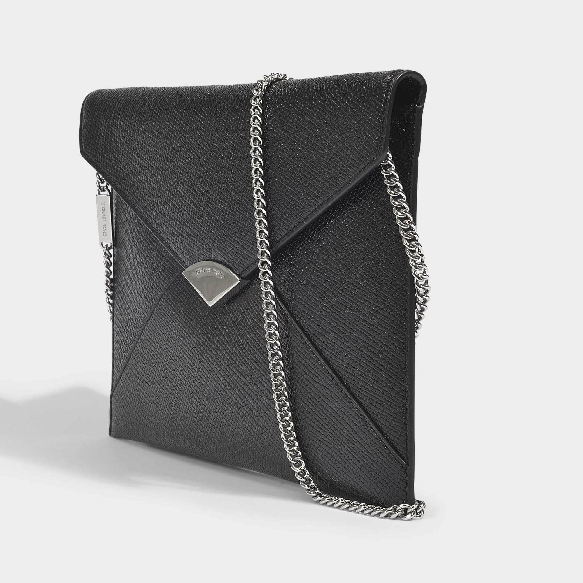 Barbara Large Soft Envelope Clutch in Black Metallic Calfskin Leather Michael Michael Kors OlJHBKnb