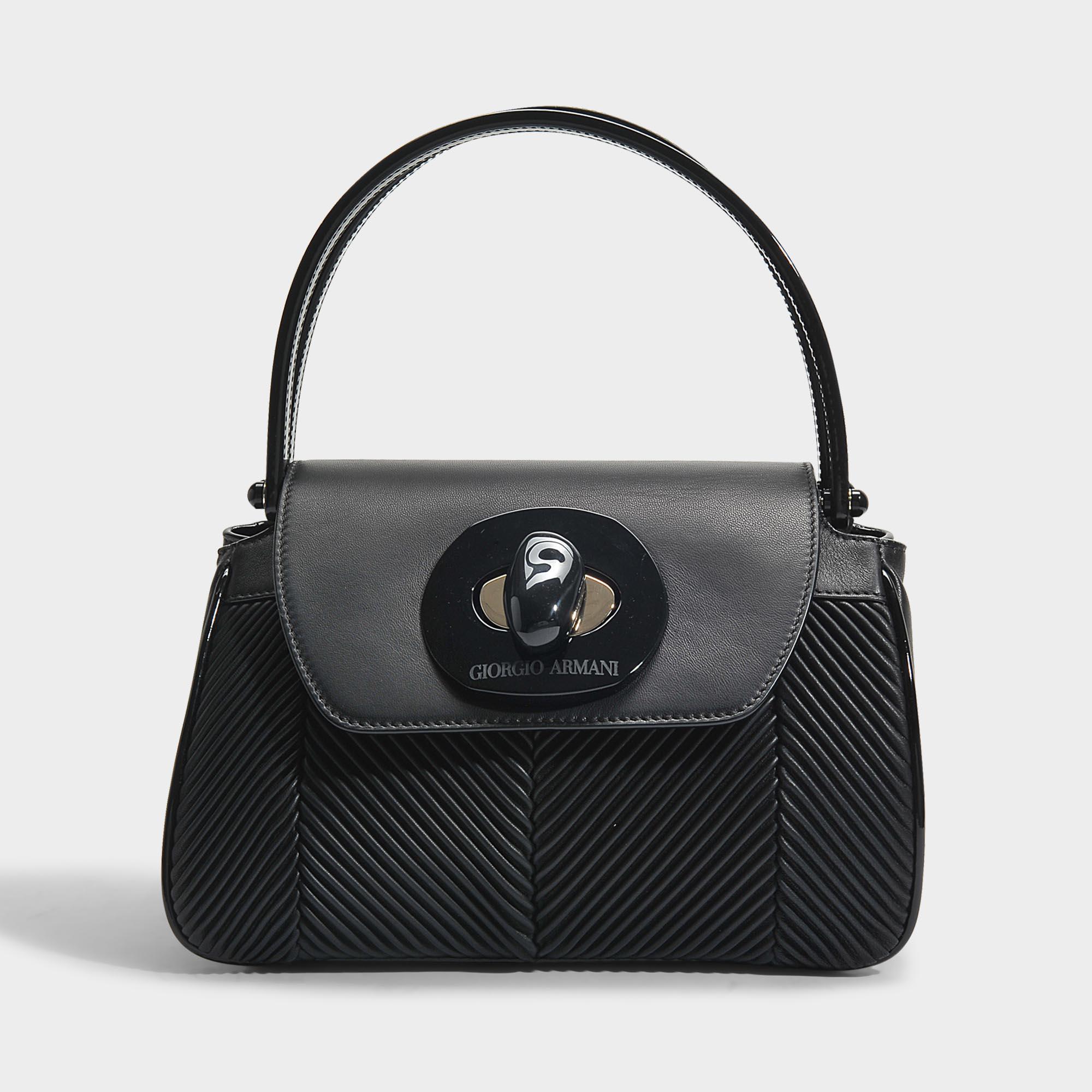 Musa Bag in Black Nappa Pleated Leather Giorgio Armani H8HN2toHsx
