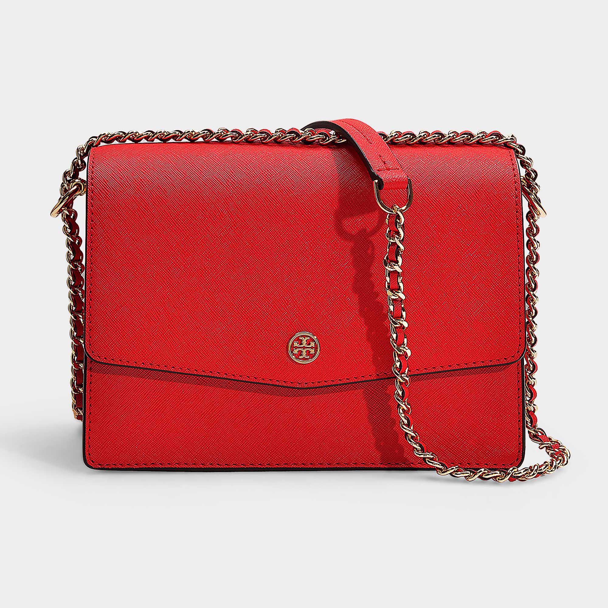 51cdfa960c01 Tory Burch. Women s Robinson Convertible Shoulder Bag In Brilliant Red  Calfskin