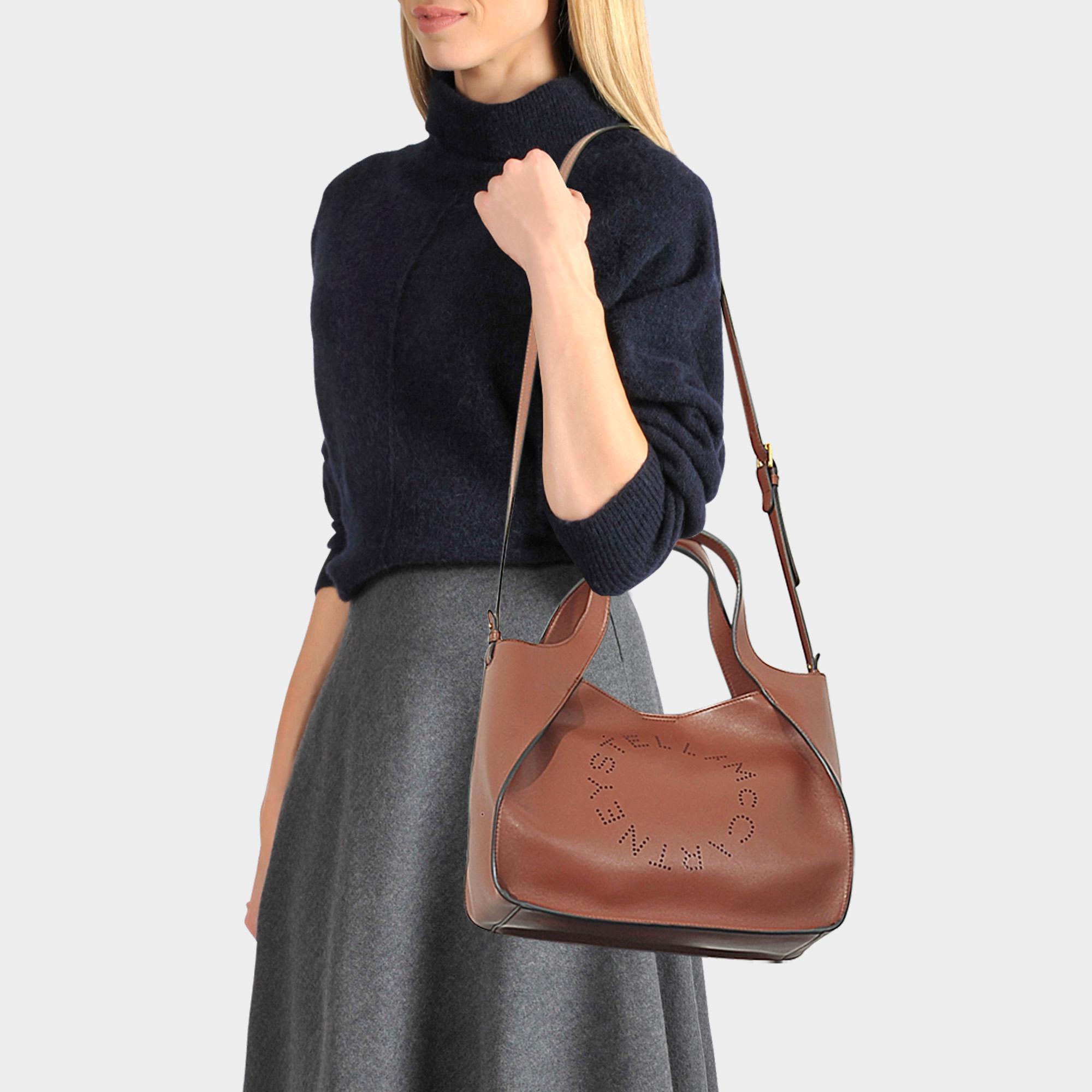 215fcff3d93f Lyst - Stella McCartney Alter Nappa Stella Logo Bag In Brown ...