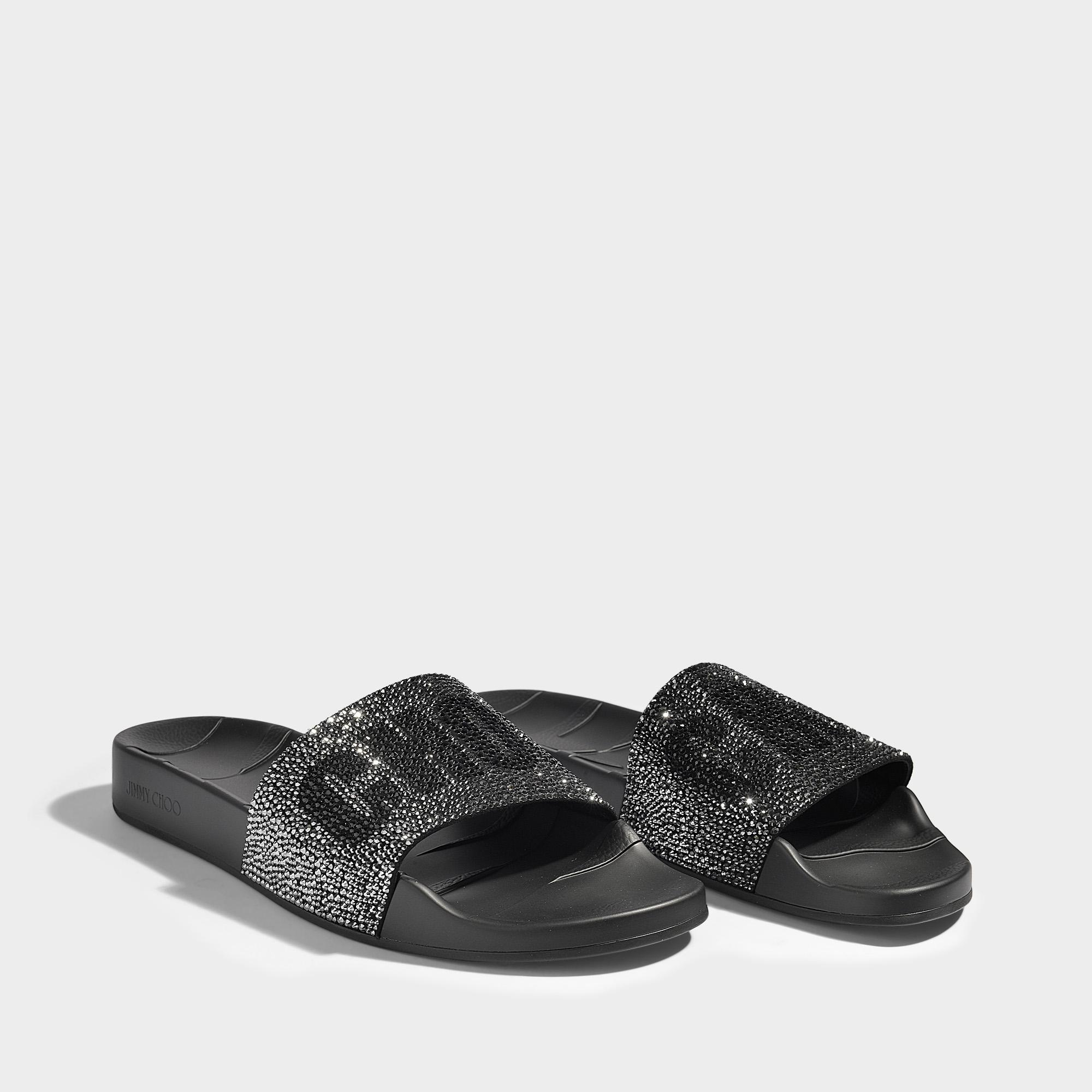 c66254db1bb9 Lyst - Jimmy Choo Rey Crystal Poolslides In Black Rubber And ...