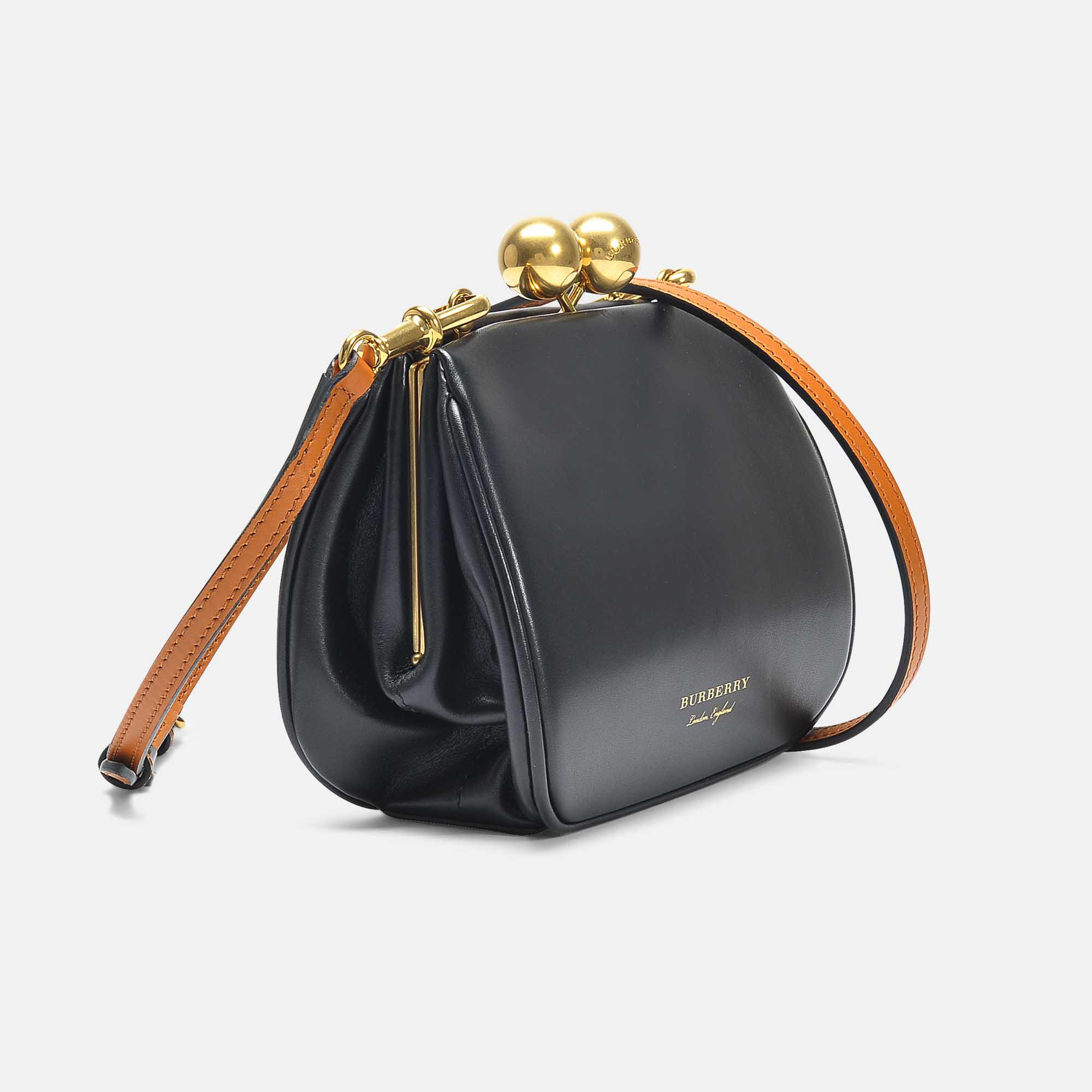 113959898f44 Lyst - Burberry Small Frame Bag In Black Smooth Calfskin