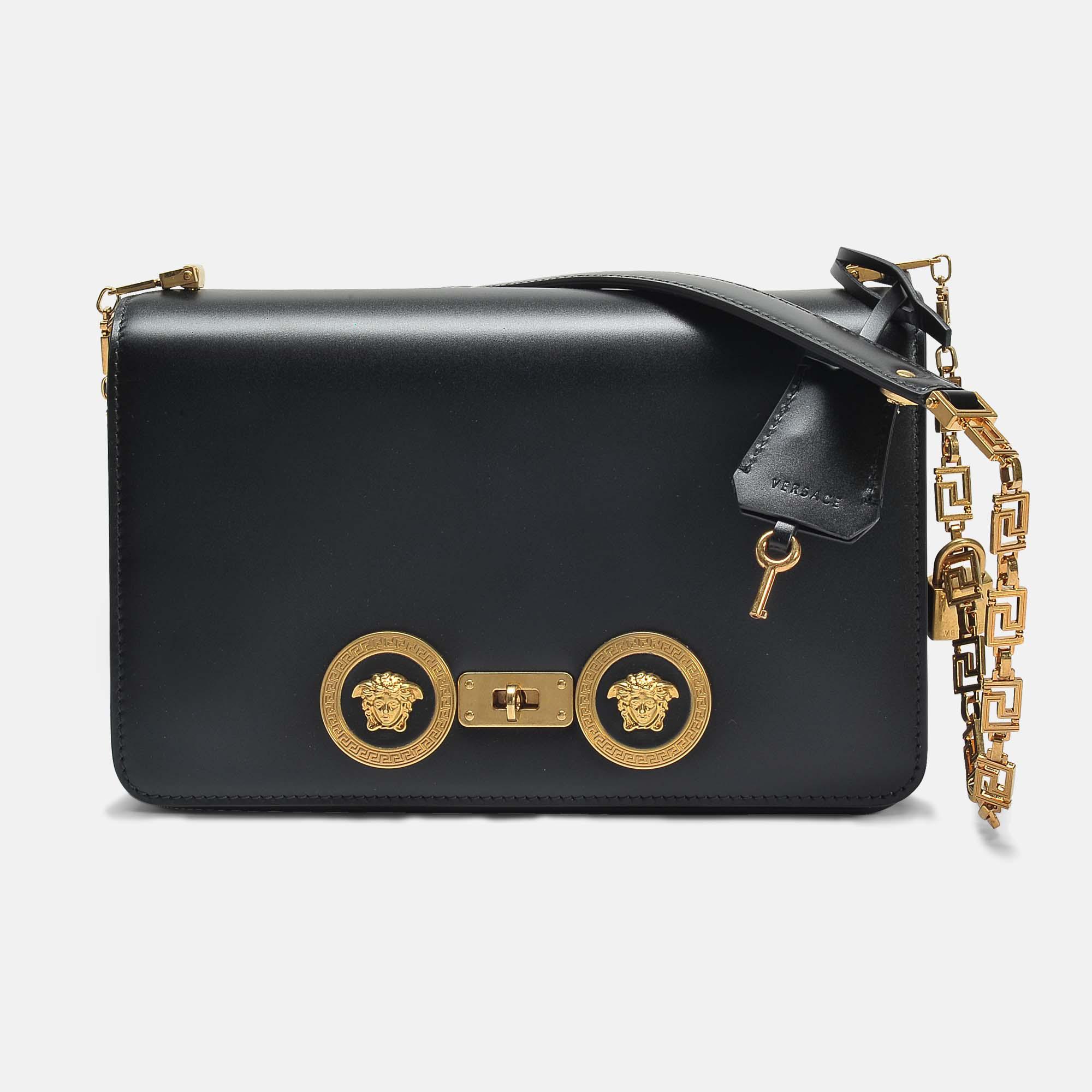 Versace Tribute Icon Small Shoulder Bag in Black Calfskin Versace yOabprD