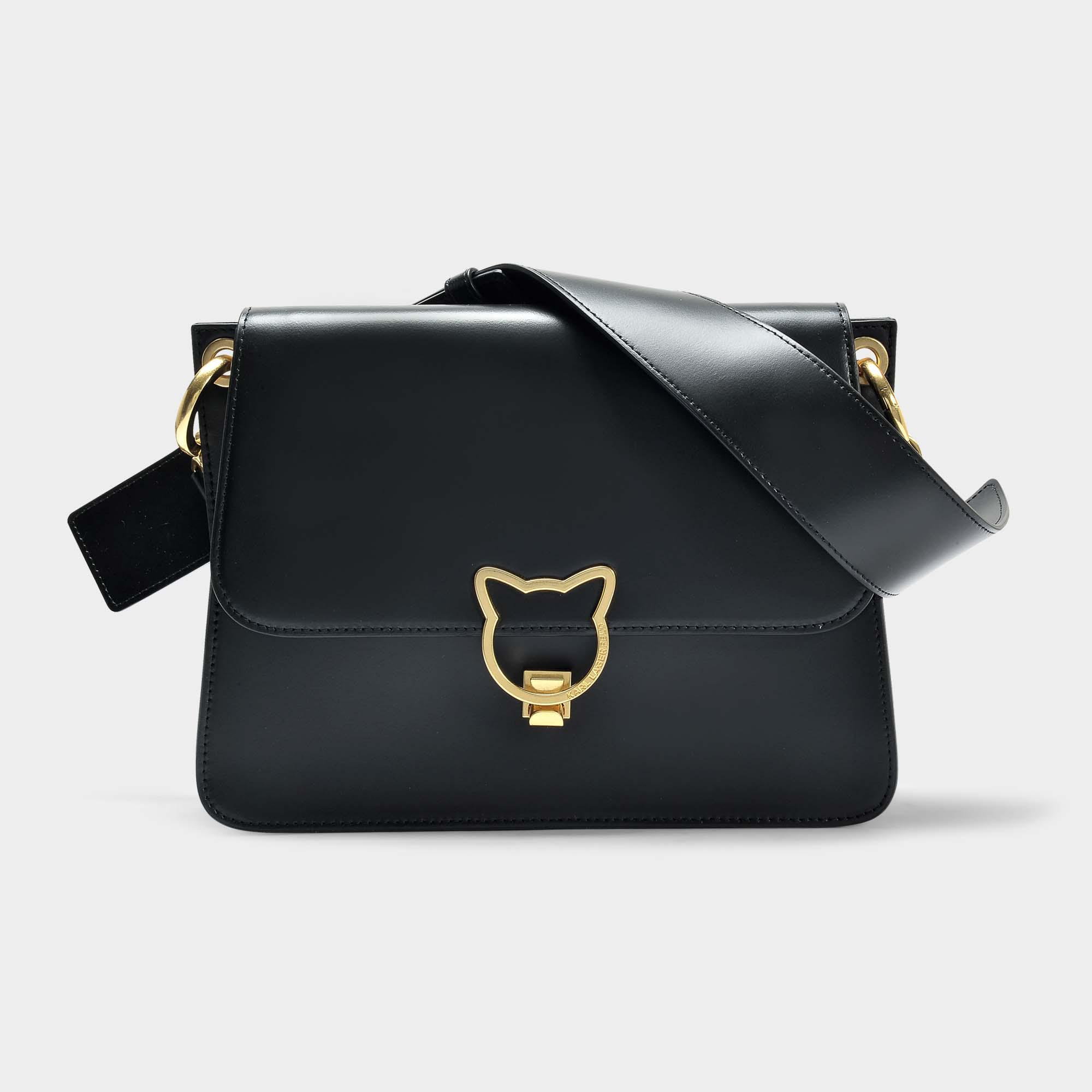 Kat Lock Crossbody Bag in Black Smooth Calf Leather Karl Lagerfeld Online Store yZiWzso