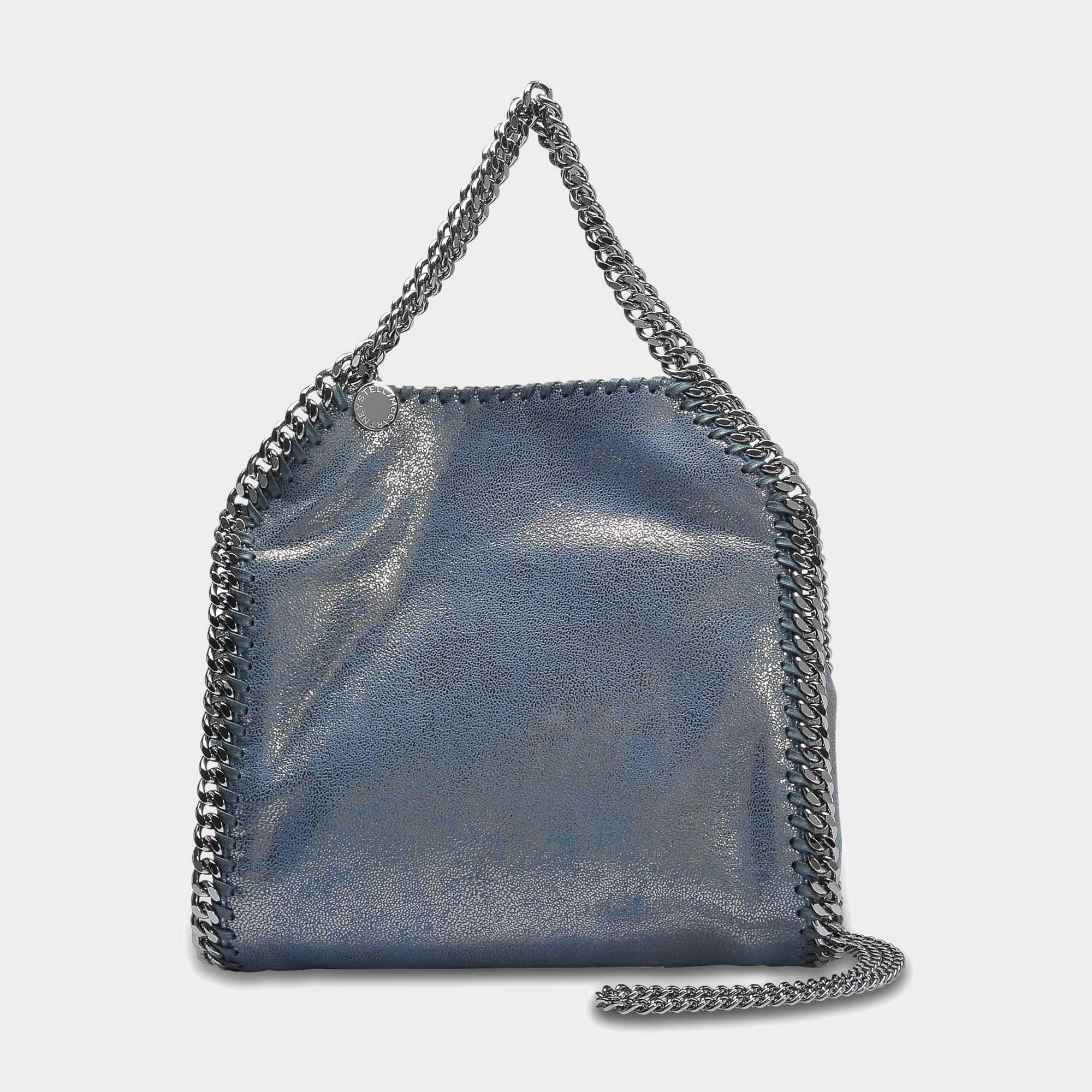 Lyst - Stella McCartney Metallic Shaggy Deer Falabella Mini Tote Bag ... 7f17076b21