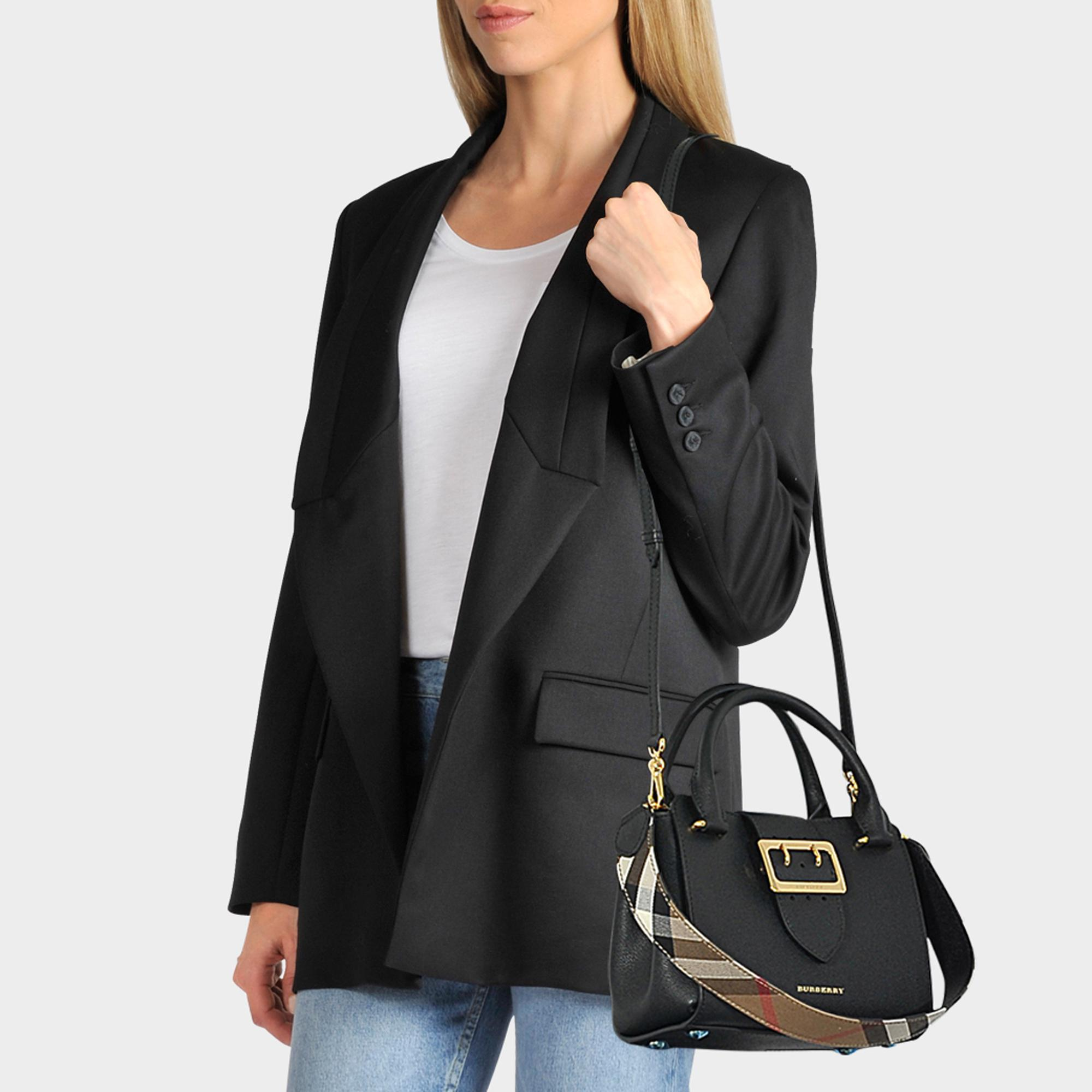 ec5d3bf448a2 Lyst - Burberry Small Buckle Tote Bag In Black Grained Calfskin in Black