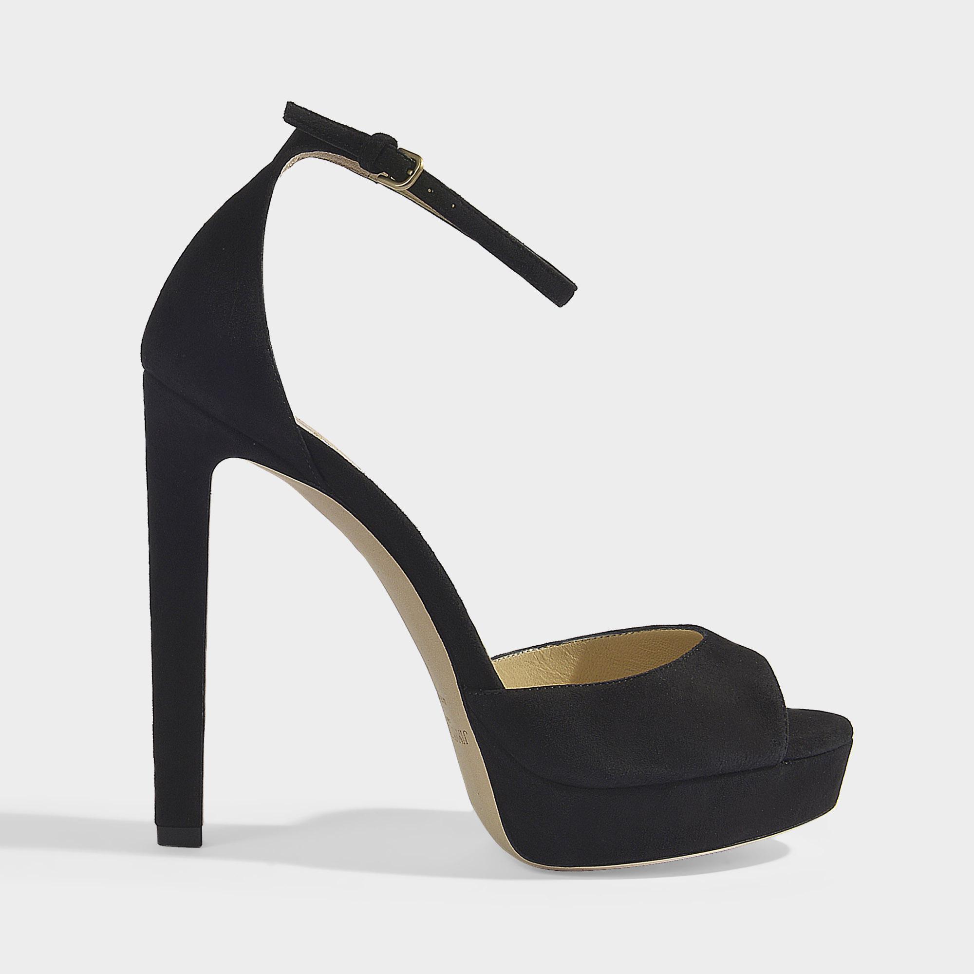 69362fad168 Lyst - Jimmy Choo Pattie 130 Platform Sandals In Black Suede in ...