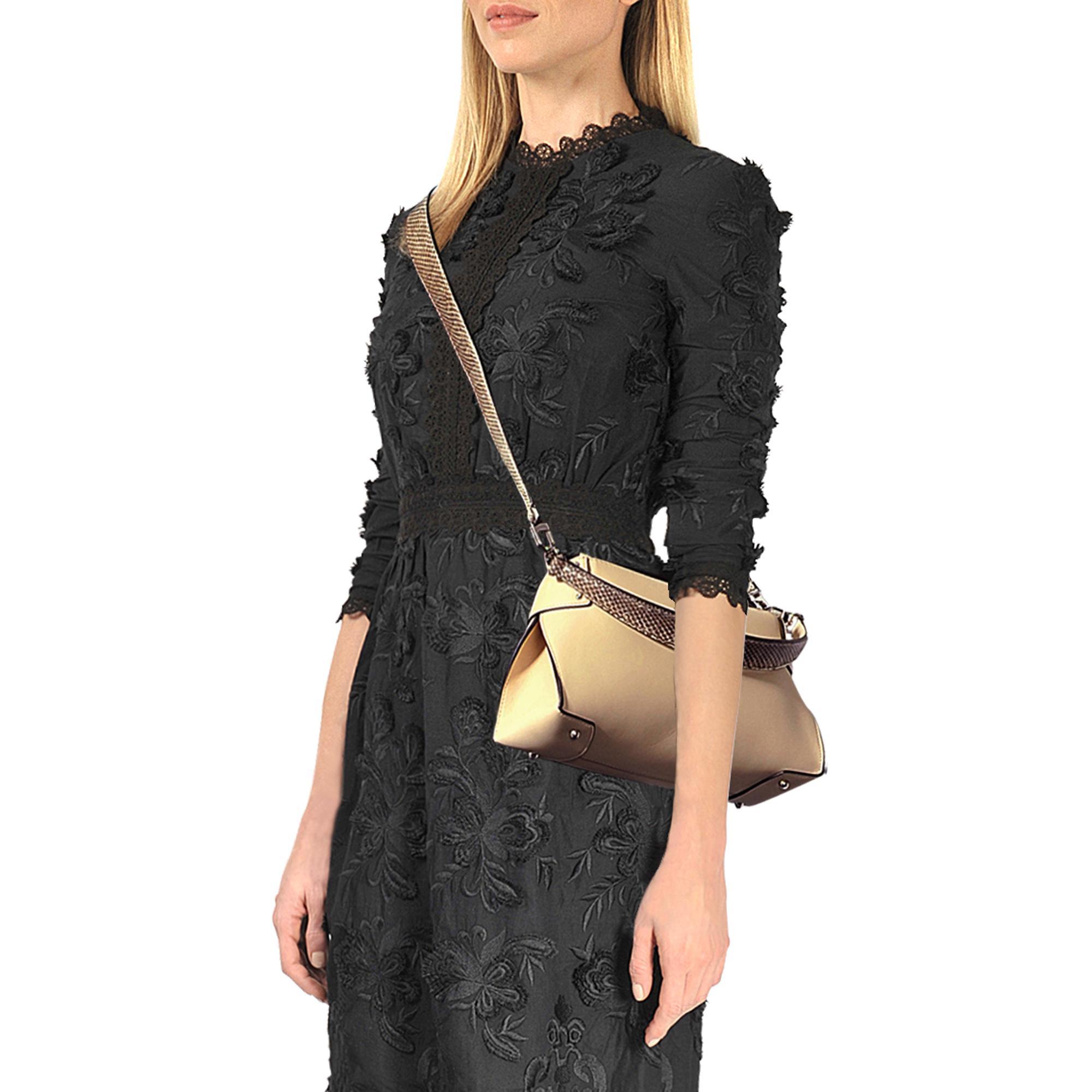 8b8b6c3534b4 Michael Kors Miranda Md Top Lock Shoulder Bag in Natural - Lyst
