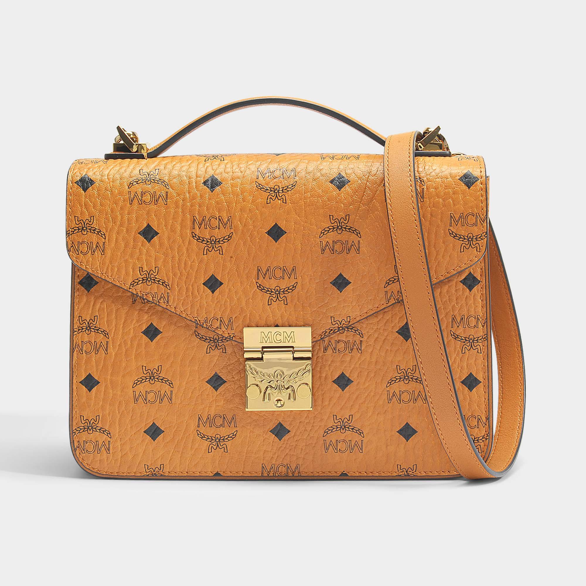 ab2002b3fbac Lyst - MCM Patricia Satchel Bag In Cognac Visetos