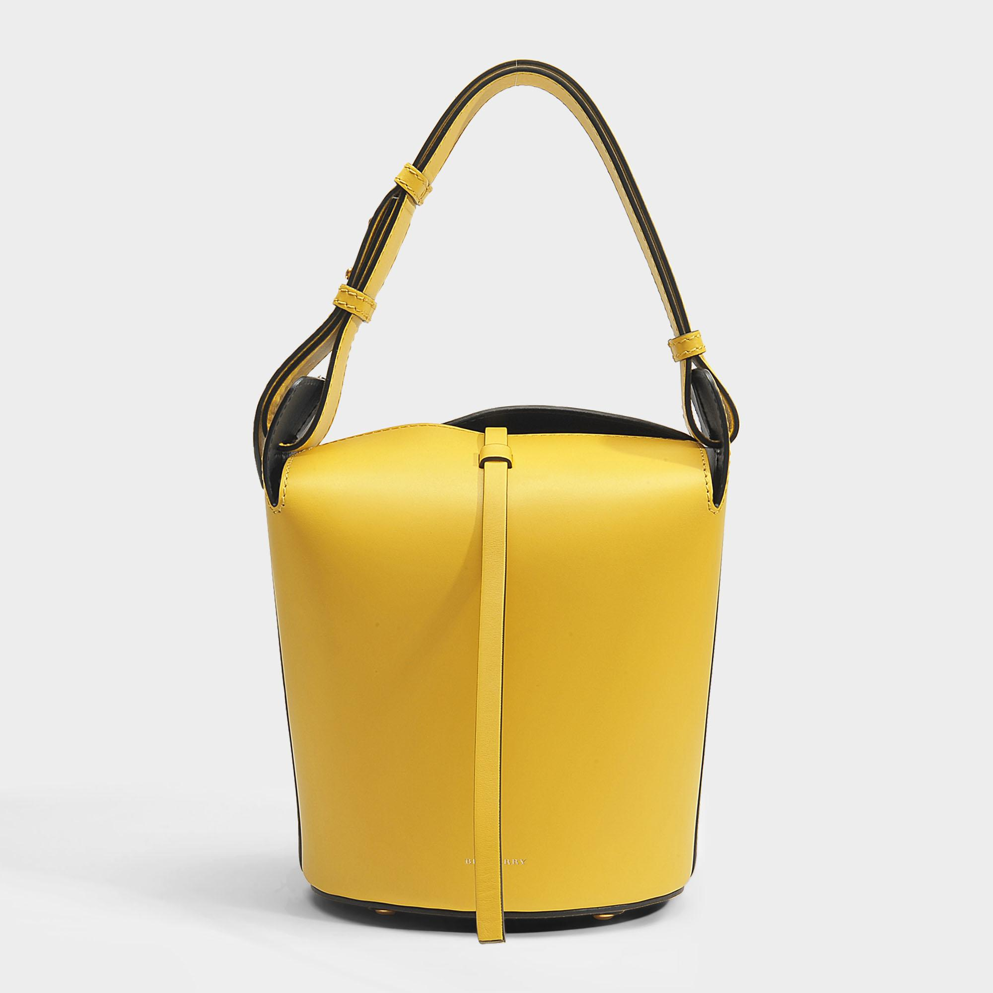 Small Bucket Bag in Bright Larch Yellow Supple Leather Burberry