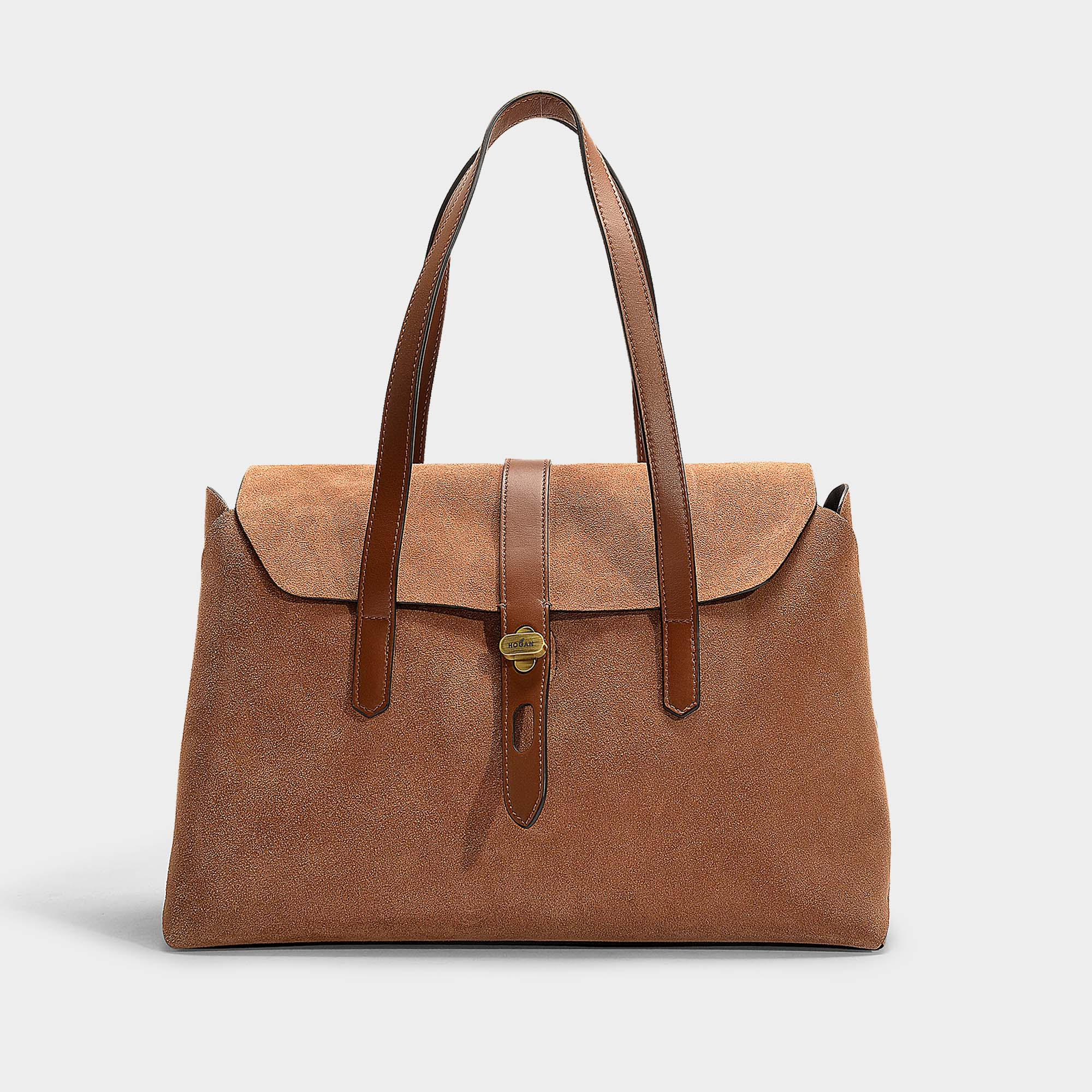 7ae5b30dd88 Hogan Shopping Goldigami Bag In Brown Calfskin in Brown - Lyst