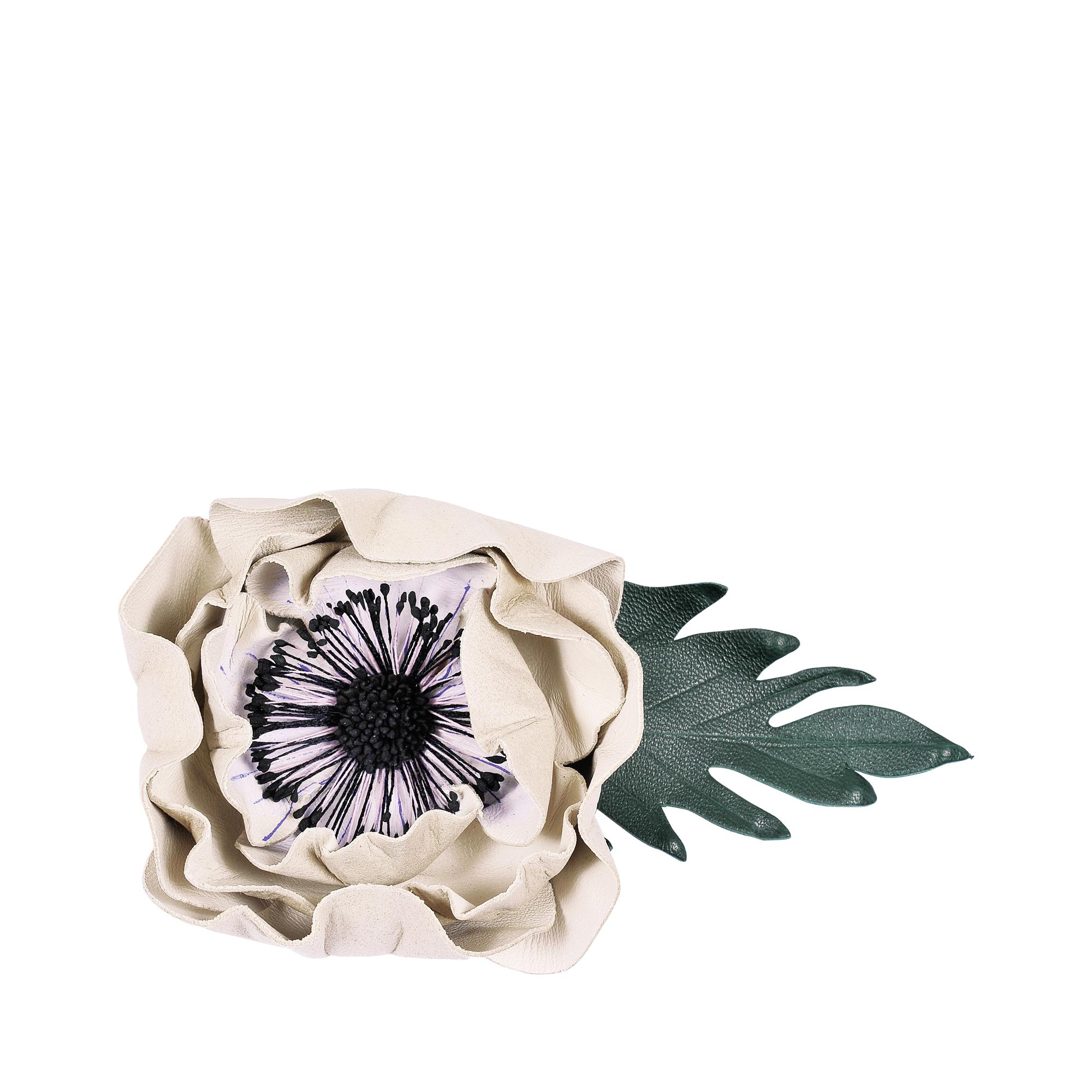 Sonia Rykiel Anemone Brooch in White Leather