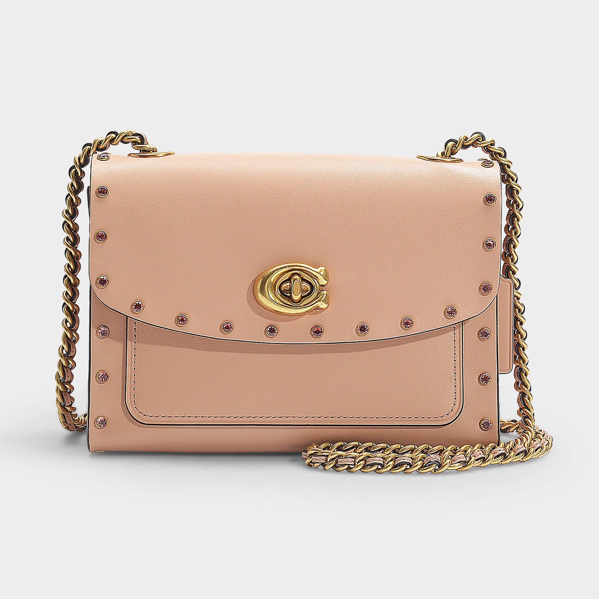 ea88cce767 COACH Crystal Border Rivets Parker 18 Shoulder Bag In Pink Calfskin ...