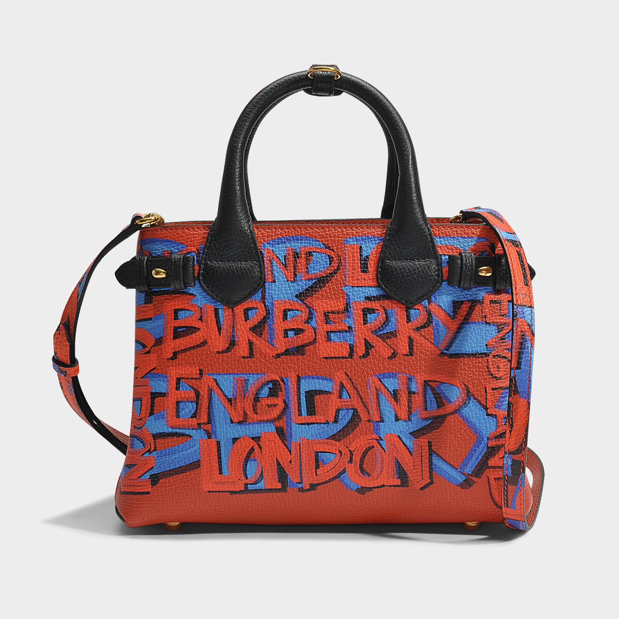 The Medium Banner in Graffiti Print Leather - Black Burberry uQKTIwVnH