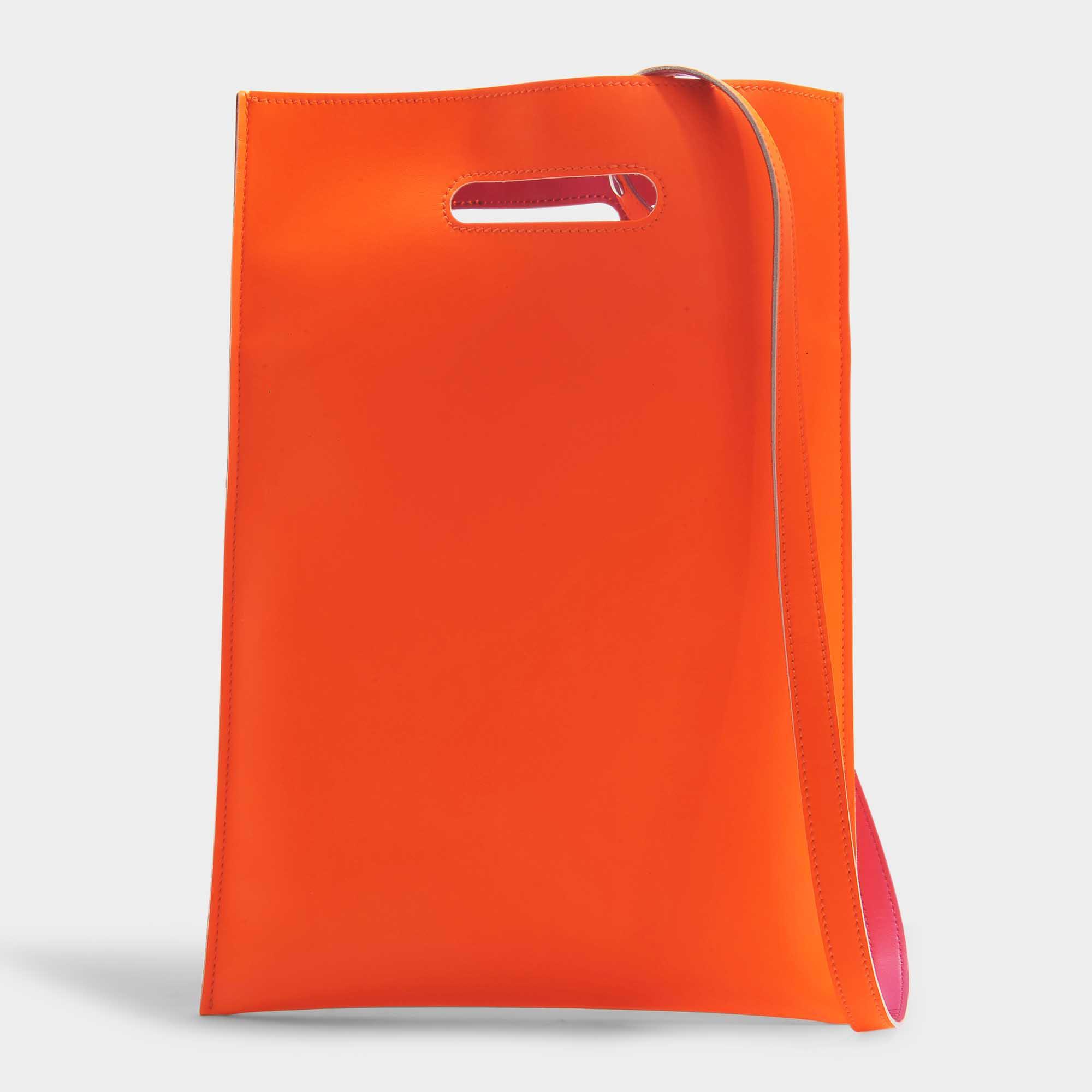 MM6 Maison Margiela Sac Plastic Porté Main en Cuir Synthétique Orange Fluo kCUQcyw6f