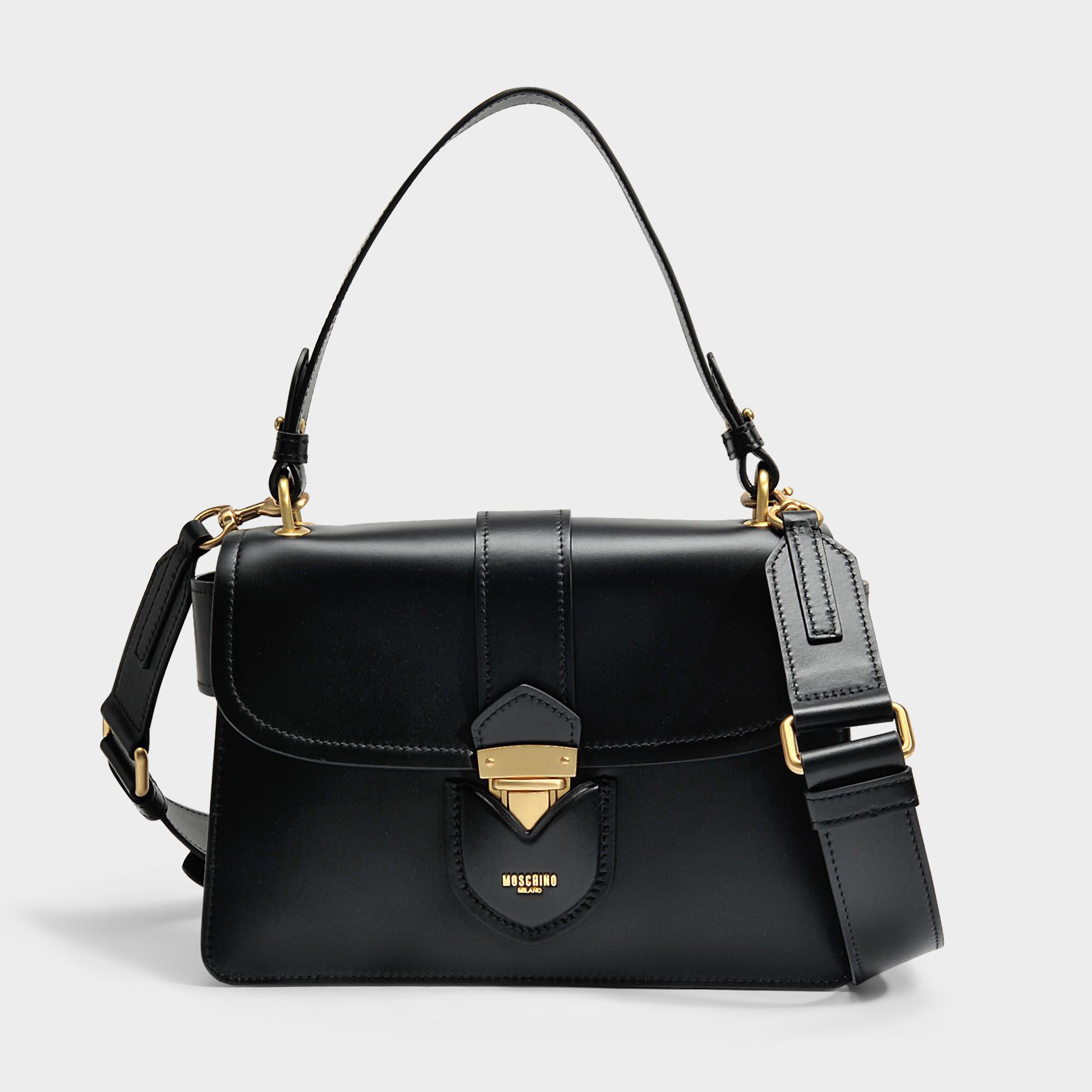 Hidden Lock Shoulder Bag in Black Calfskin Moschino oU0KT9R