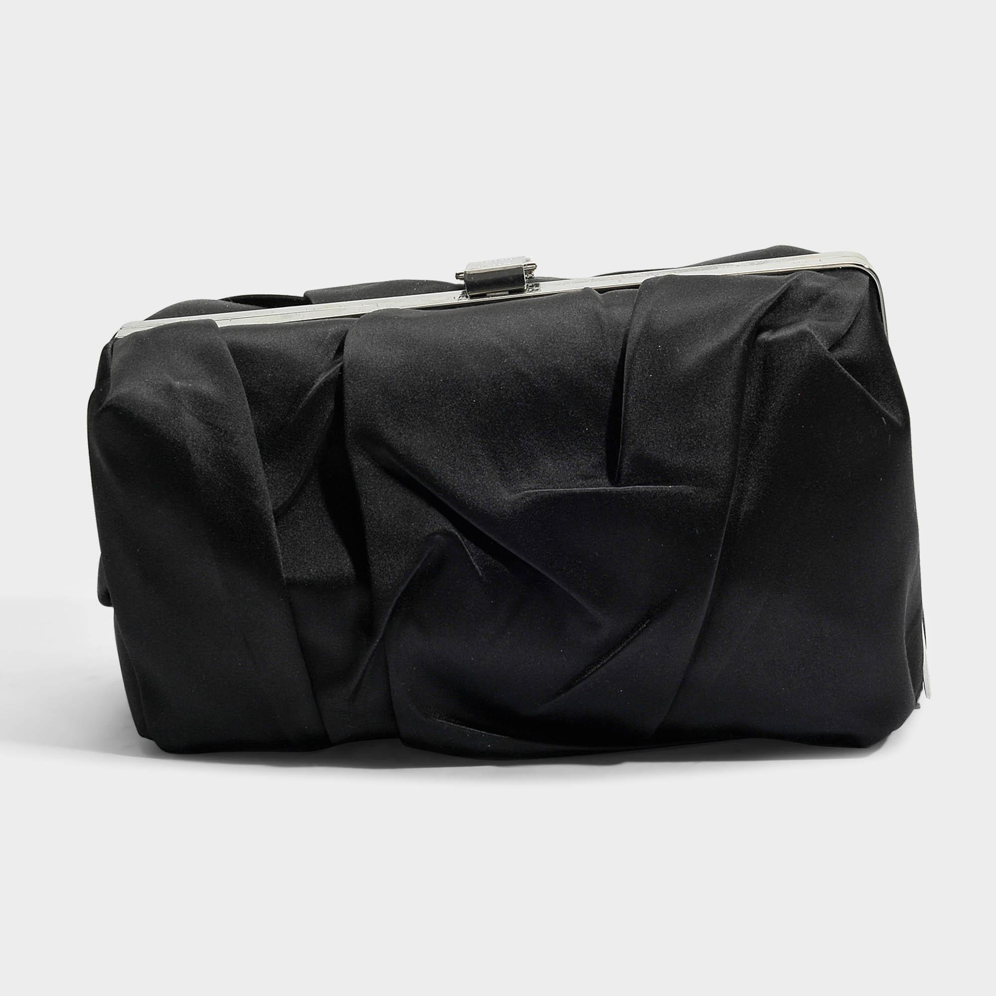 Asymmetrical Frame Clutch in Black Crinkled Satin Proenza Schouler