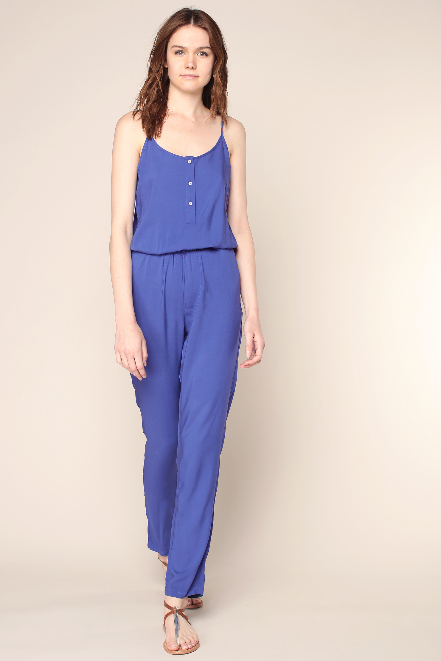 vero moda jumpsuit in blue lyst. Black Bedroom Furniture Sets. Home Design Ideas