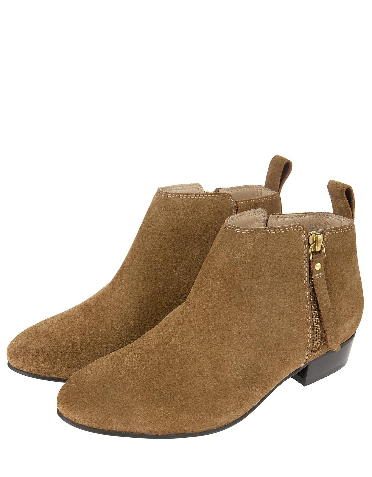 bb51e755cc25 Monsoon Lacey Low Cut Zip Suede Ankle Boots in Natural - Lyst