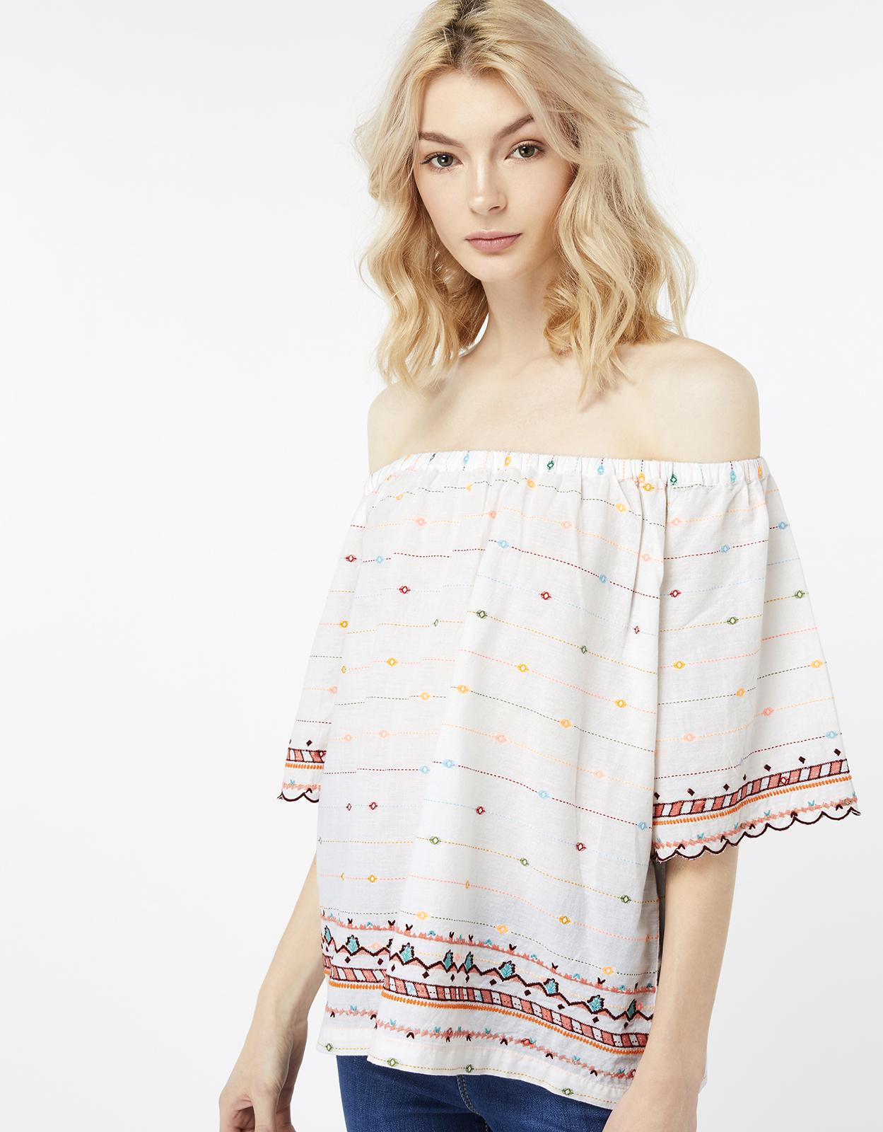 b2dd4fc75b89e0 Monsoon Naomi Off The Shoulder Top in White - Lyst