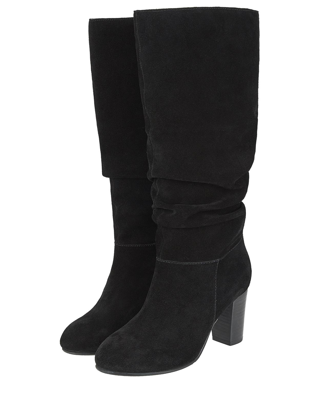 14c7be7ce013 Monsoon Sadie Suede Slouch Boots in Black - Lyst