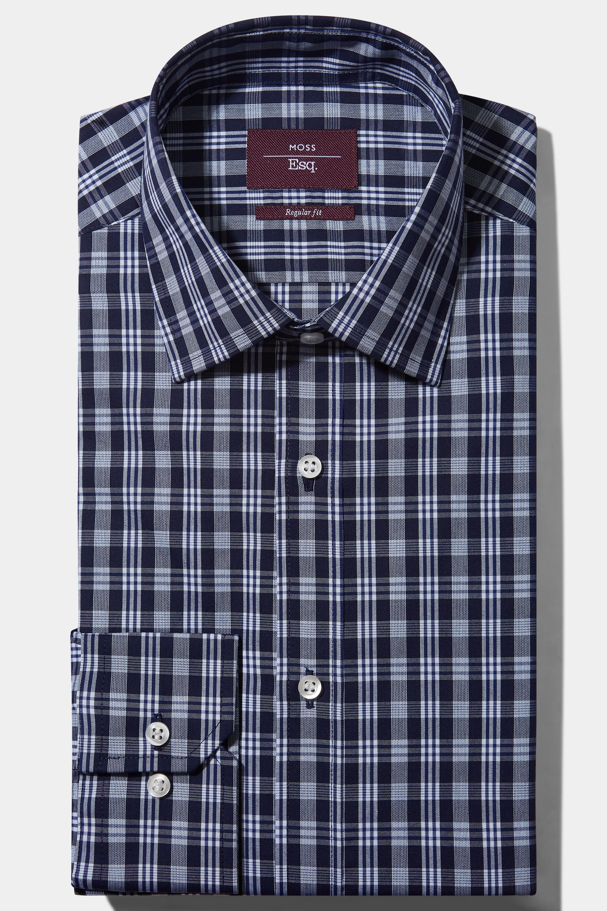 0992a113c9a Moss Esq. Regular Fit Navy Single Cuff Check Non Iron Shirt in Blue ...